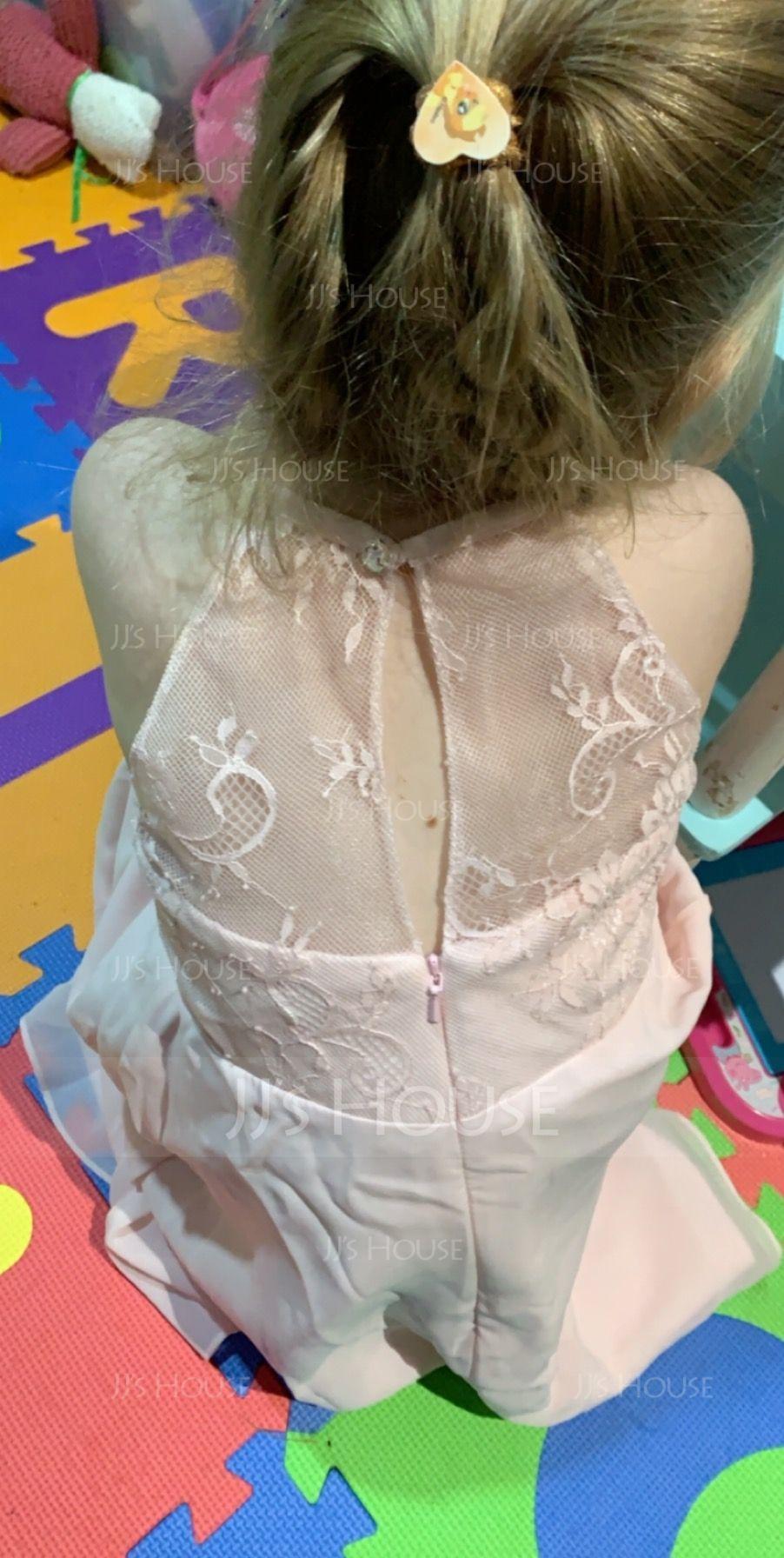 A-Line/Princess Tea-length Flower Girl Dress - Chiffon/Lace Sleeveless Scoop Neck With Ruffles (010113820)