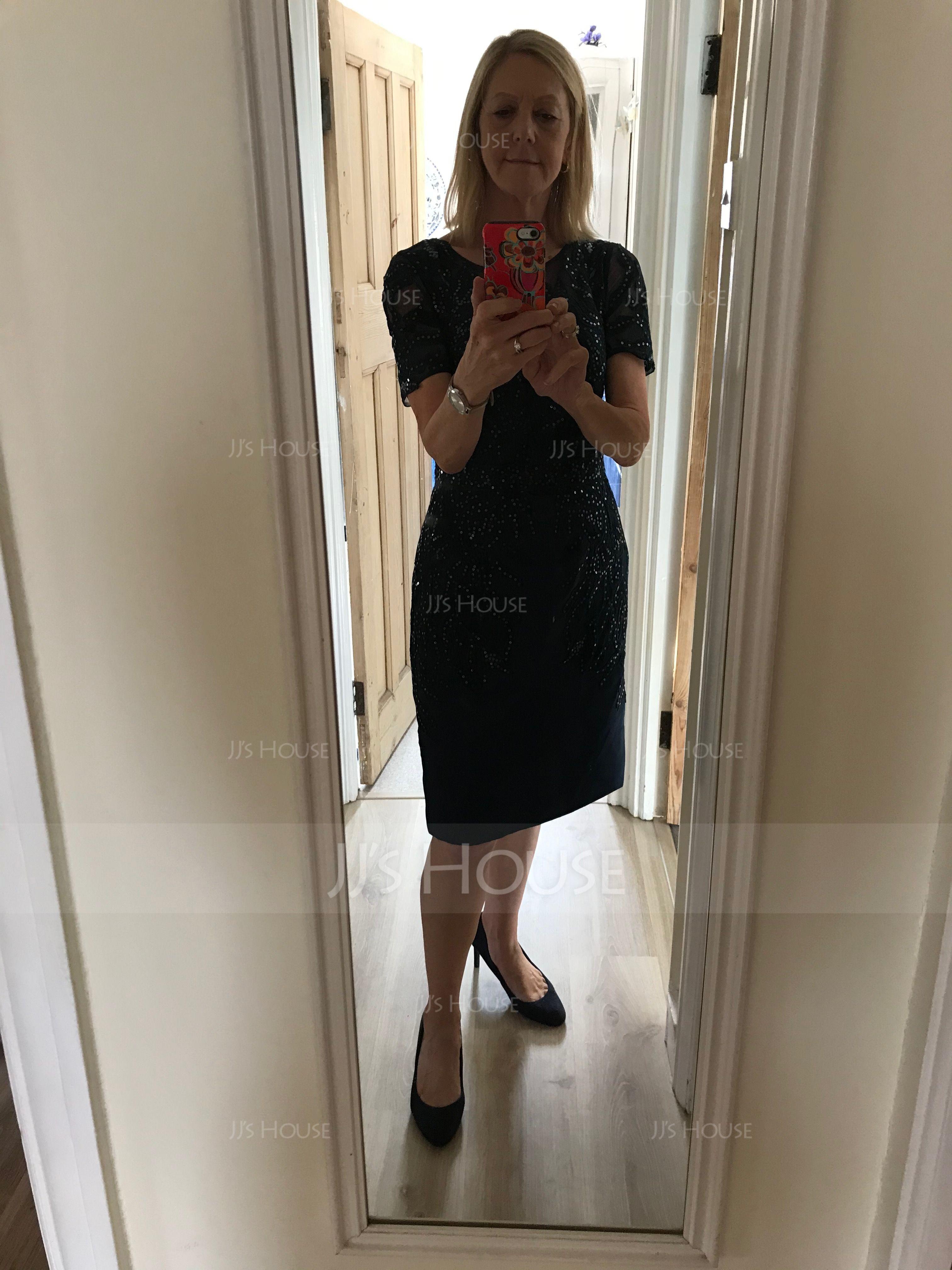 シース スクープネック 膝上丈 サテン レース ミセスドレス とともに スパンコール