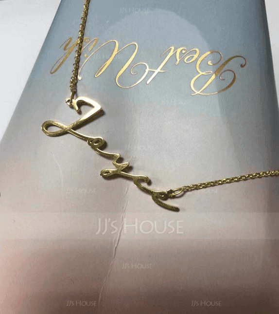 Custom 18k Gold Plated Silver Signature Name Necklace - Valentines Gifts (288211273)