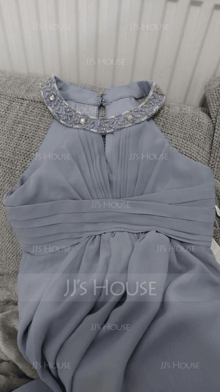 A-Linie U-Ausschnitt Bodenlang Chiffon Kleider für junge Brautjungfern mit Rüschen Perlstickerei