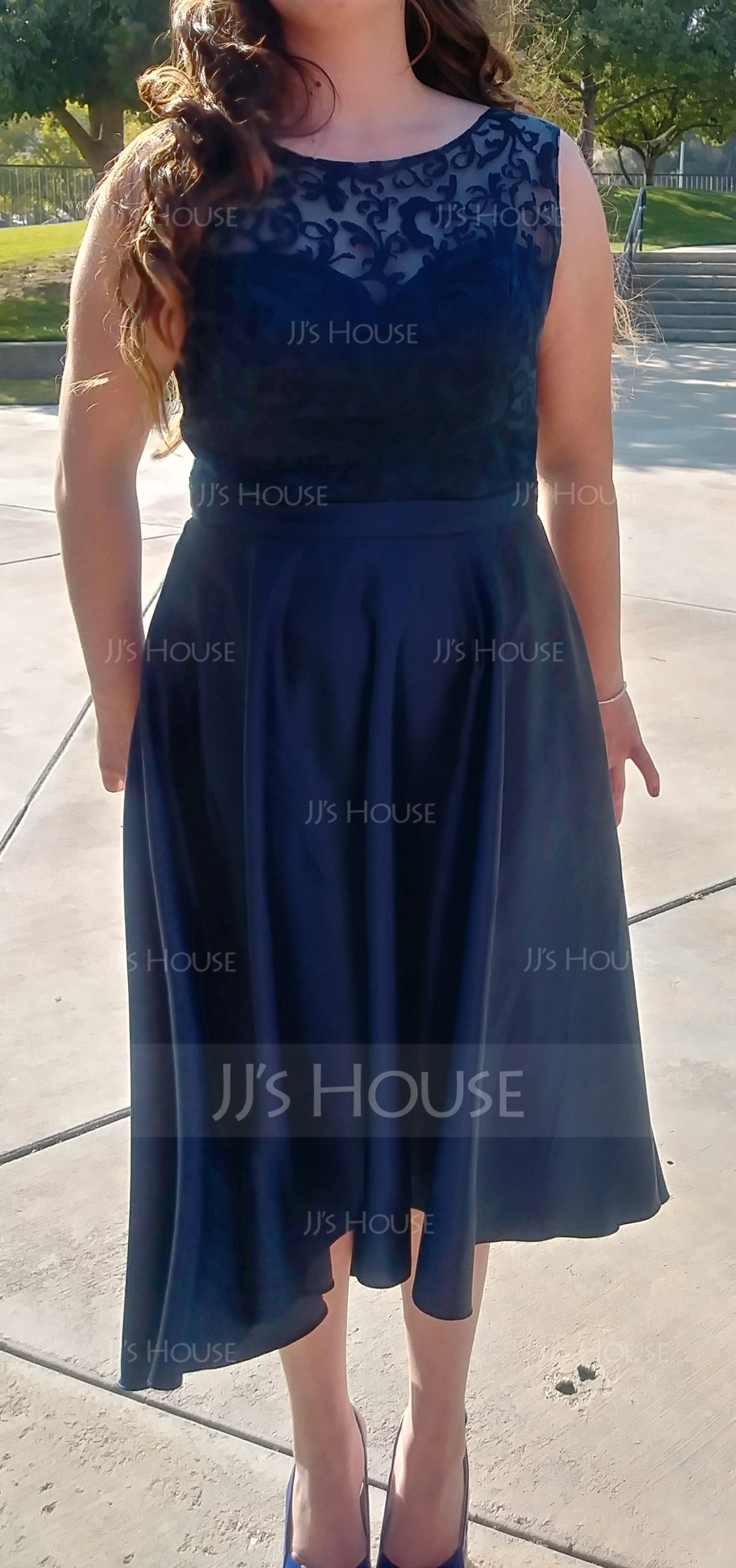 A-Line Scoop Neck Asymmetrical Satin Bridesmaid Dress (007090173)