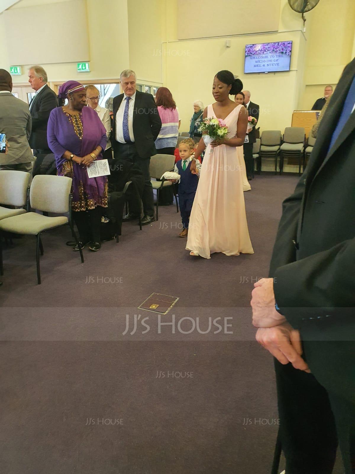 V-neck Floor-Length Chiffon Bridesmaid Dress With Ruffle Lace Beading Sequins (266195761)