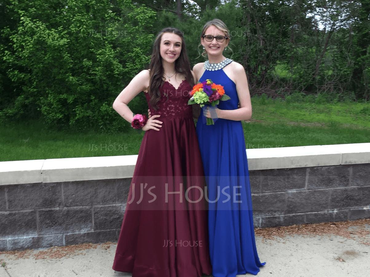 Scoop Neck Floor-Length Chiffon Prom Dresses With Beading (272194603)