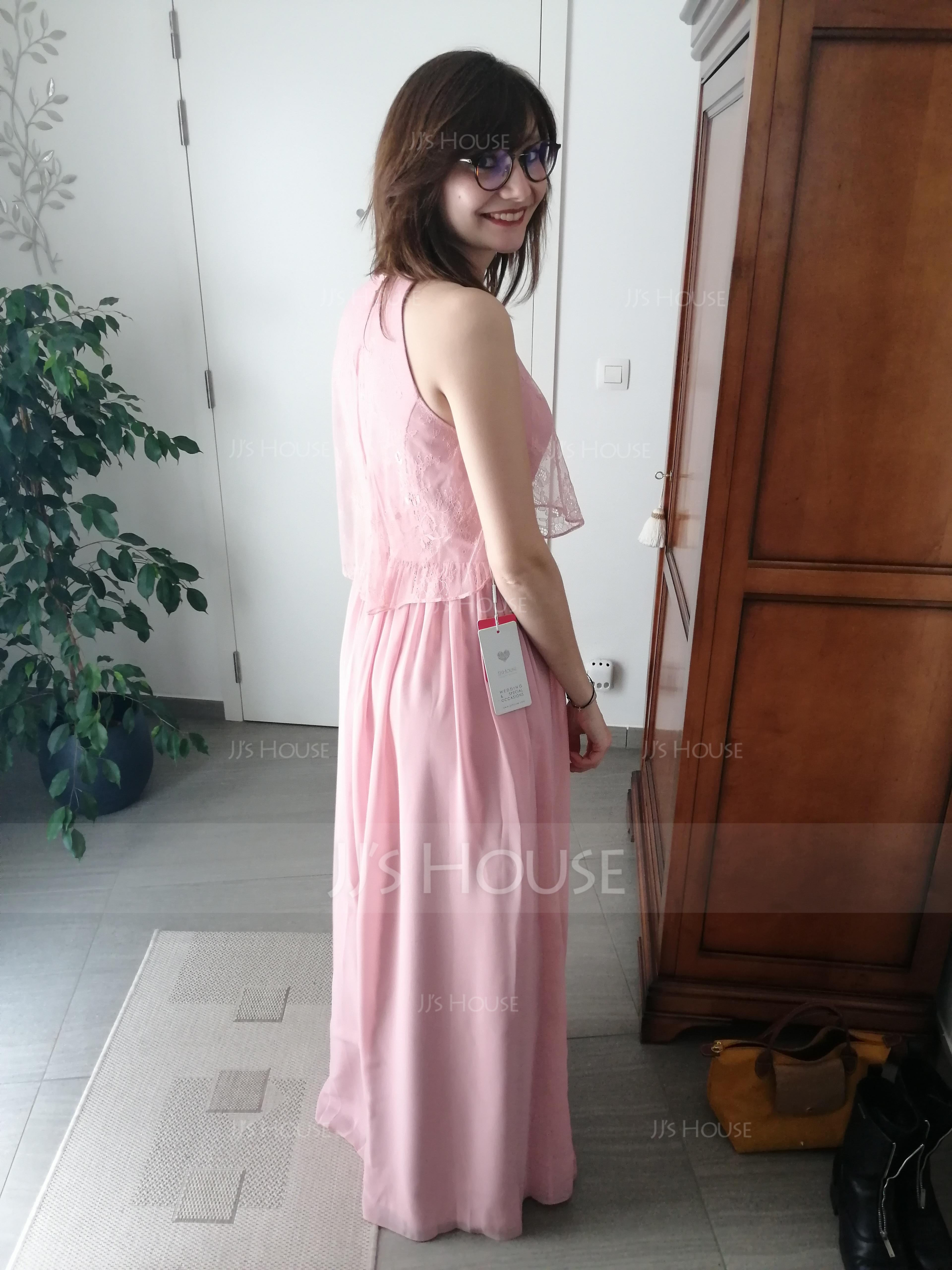 A-Line/Princess Scoop Neck Floor-Length Chiffon Bridesmaid Dress With Ruffle (266176991)