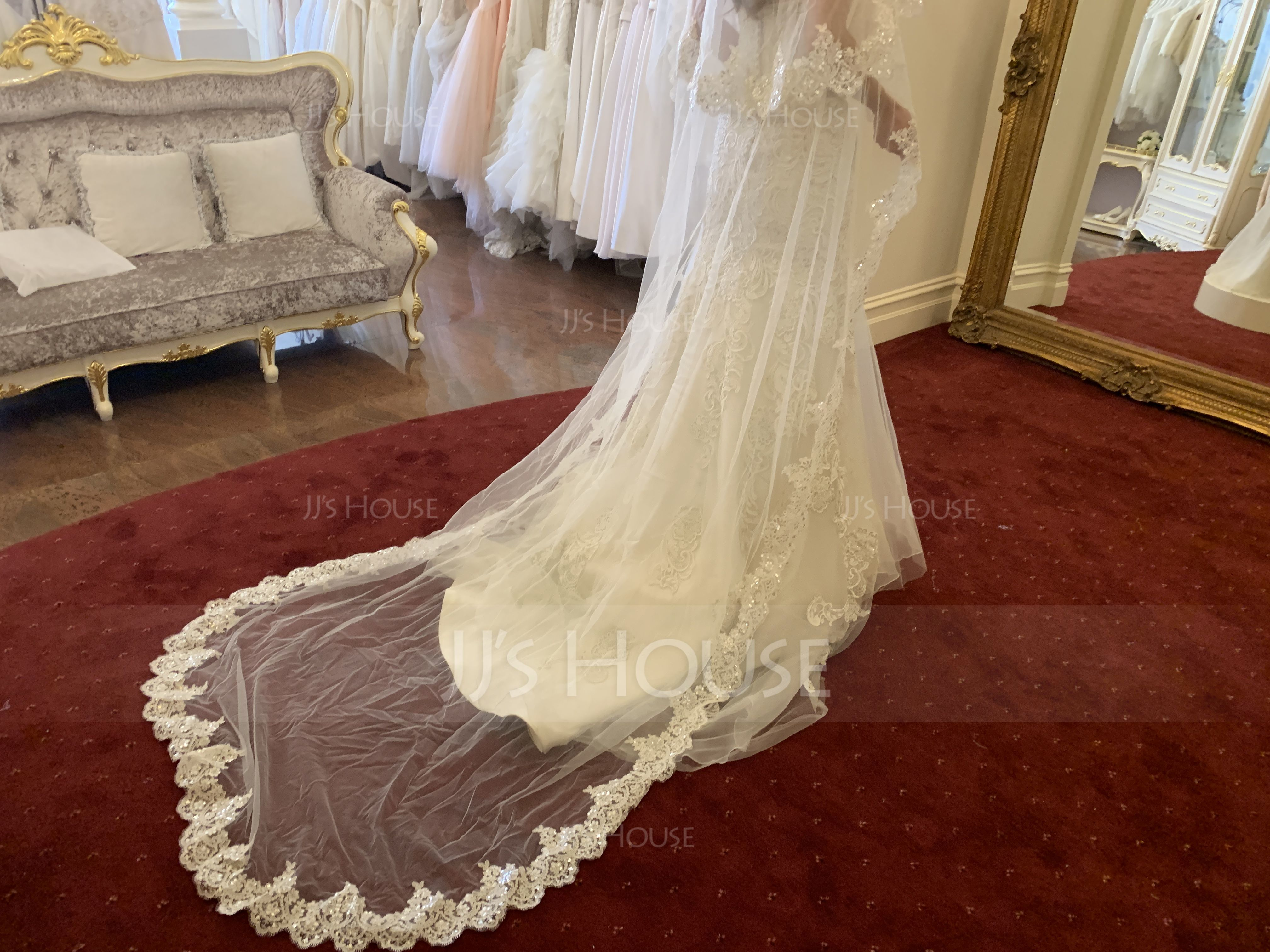 Two-tier Lace Applique Edge Cathedral Bridal Veils With Lace (006183216)