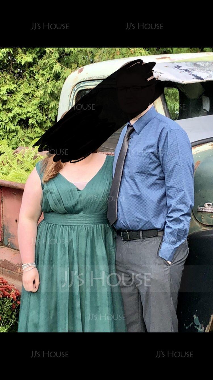 A-Line V-neck Asymmetrical Tulle Bridesmaid Dress (007116631)