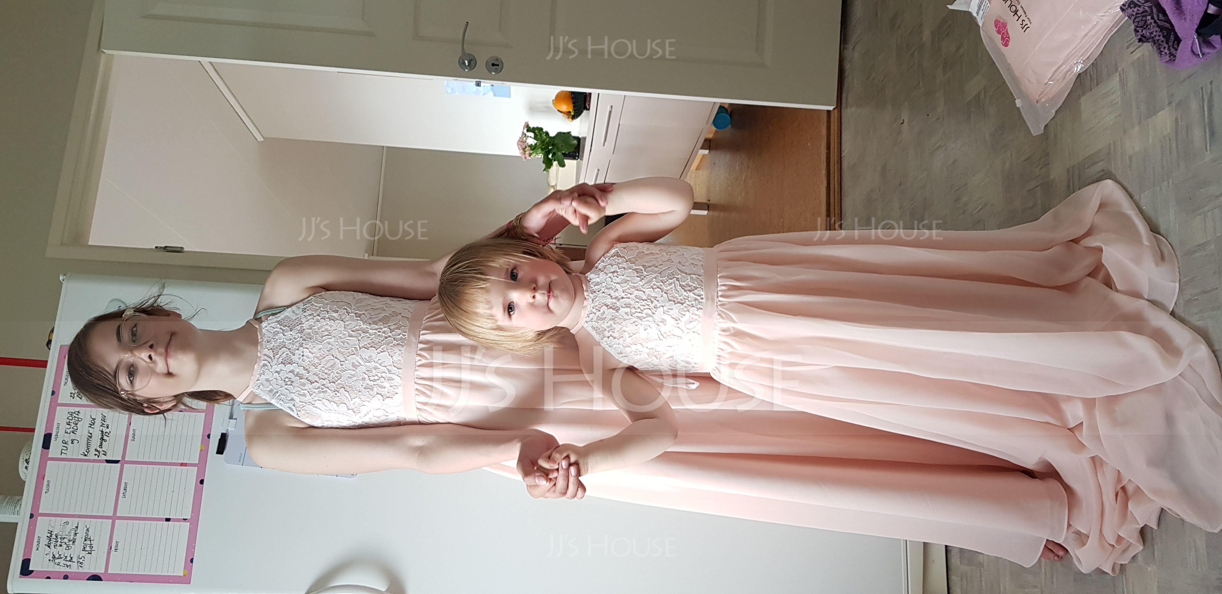 A-Line Scoop Neck Floor-Length Chiffon Lace Junior Bridesmaid Dress (009173294)