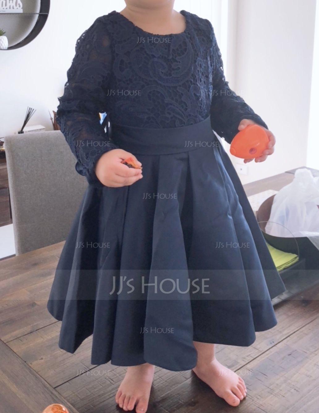 A-Line/Princess Scoop Neck Knee-Length Satin Junior Bridesmaid Dress With Sash Bow(s) (009136426)
