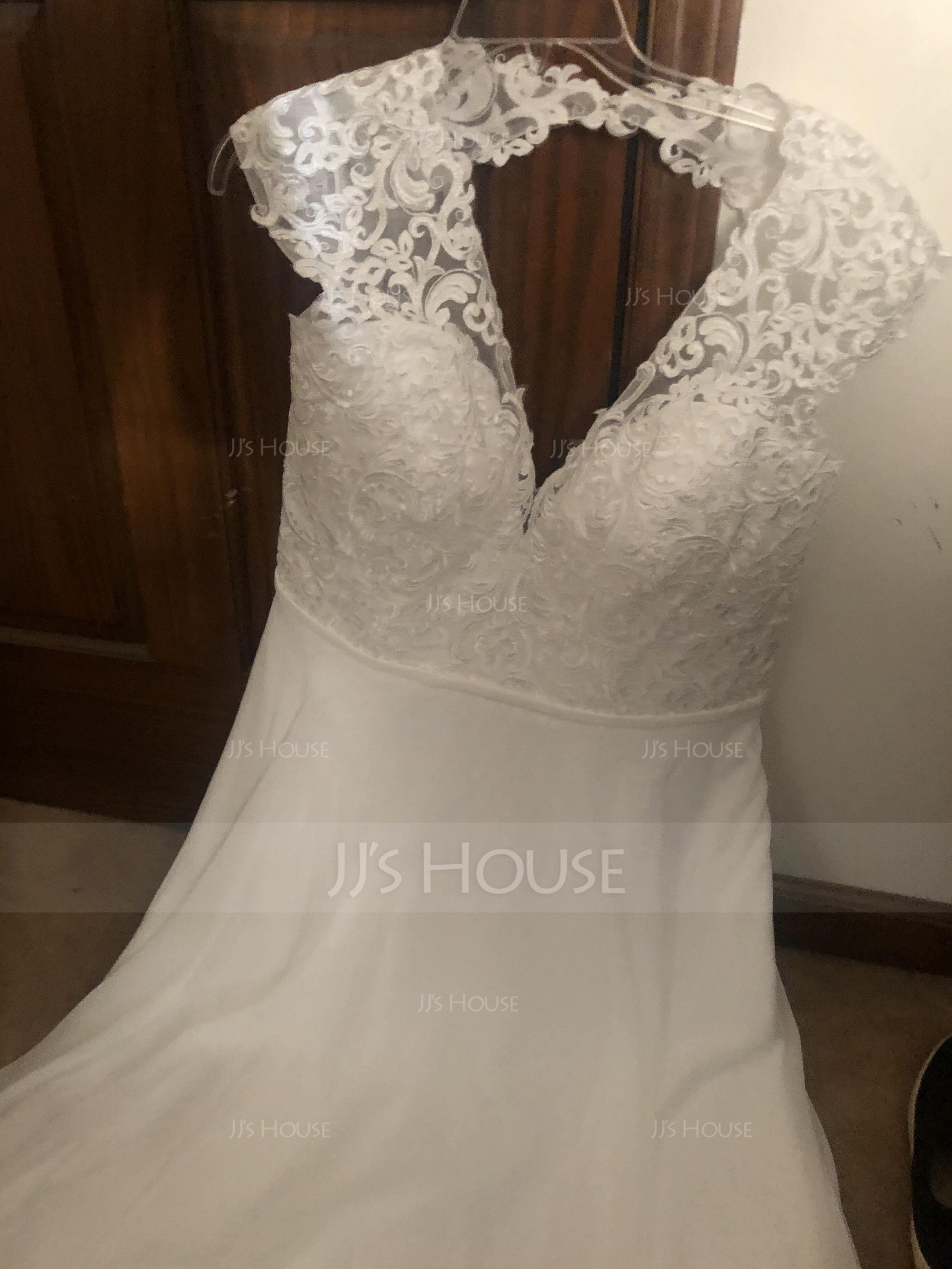 A-Line V-neck Sweep Train Chiffon Wedding Dress With Split Front (002134403)