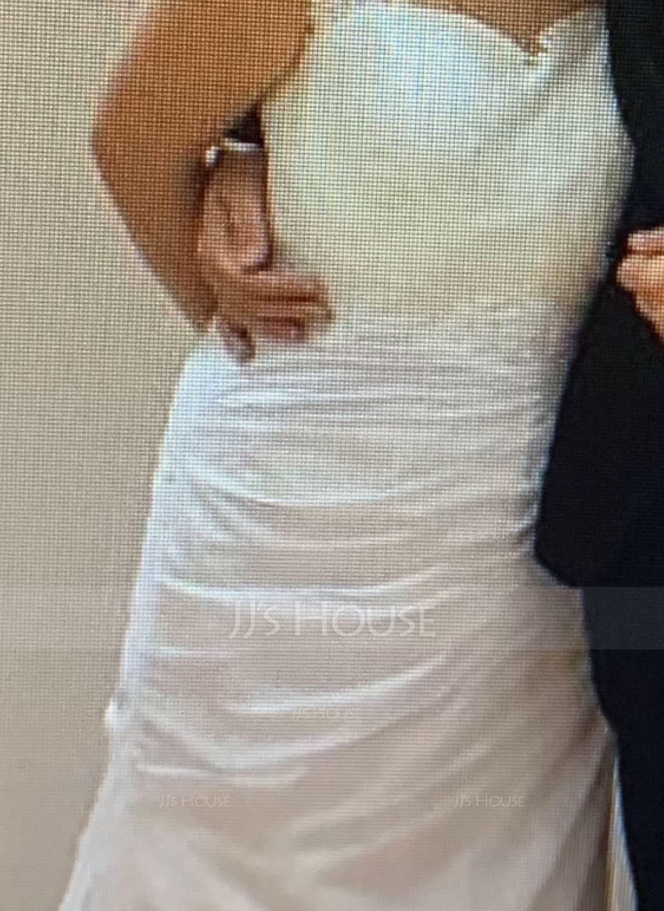 マーメイド スクエアネック コート・トレーン シフォン ウエディングドレス とともに ラッフル