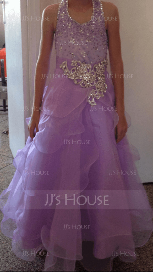 A-Line/Princess Floor-length Flower Girl Dress - Organza Sleeveless Halter With Ruffles/Sequins/Rhinestone (010007648)