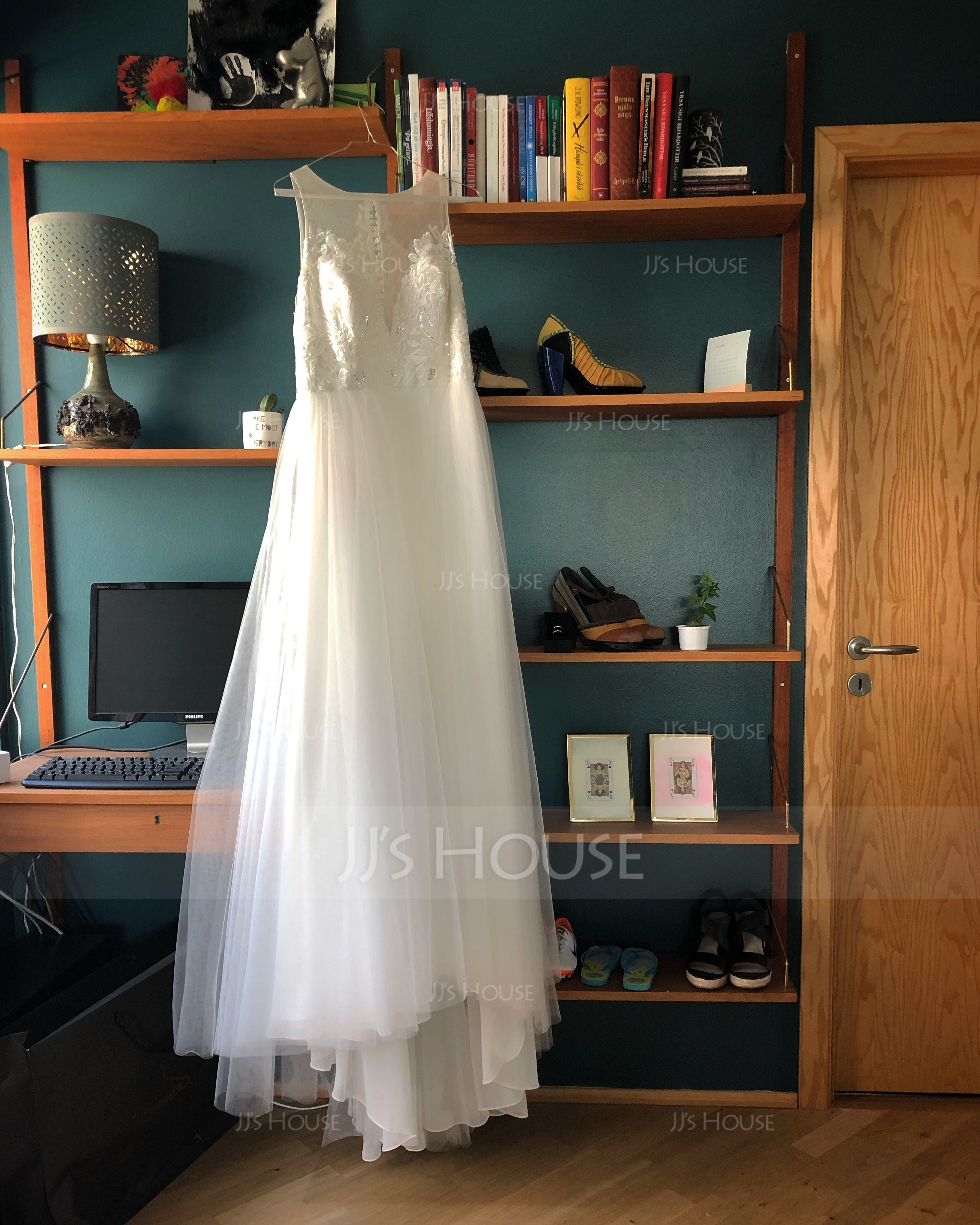 A-Line Illusion Sweep Train Tulle Wedding Dress With Beading Split Front (002171956)