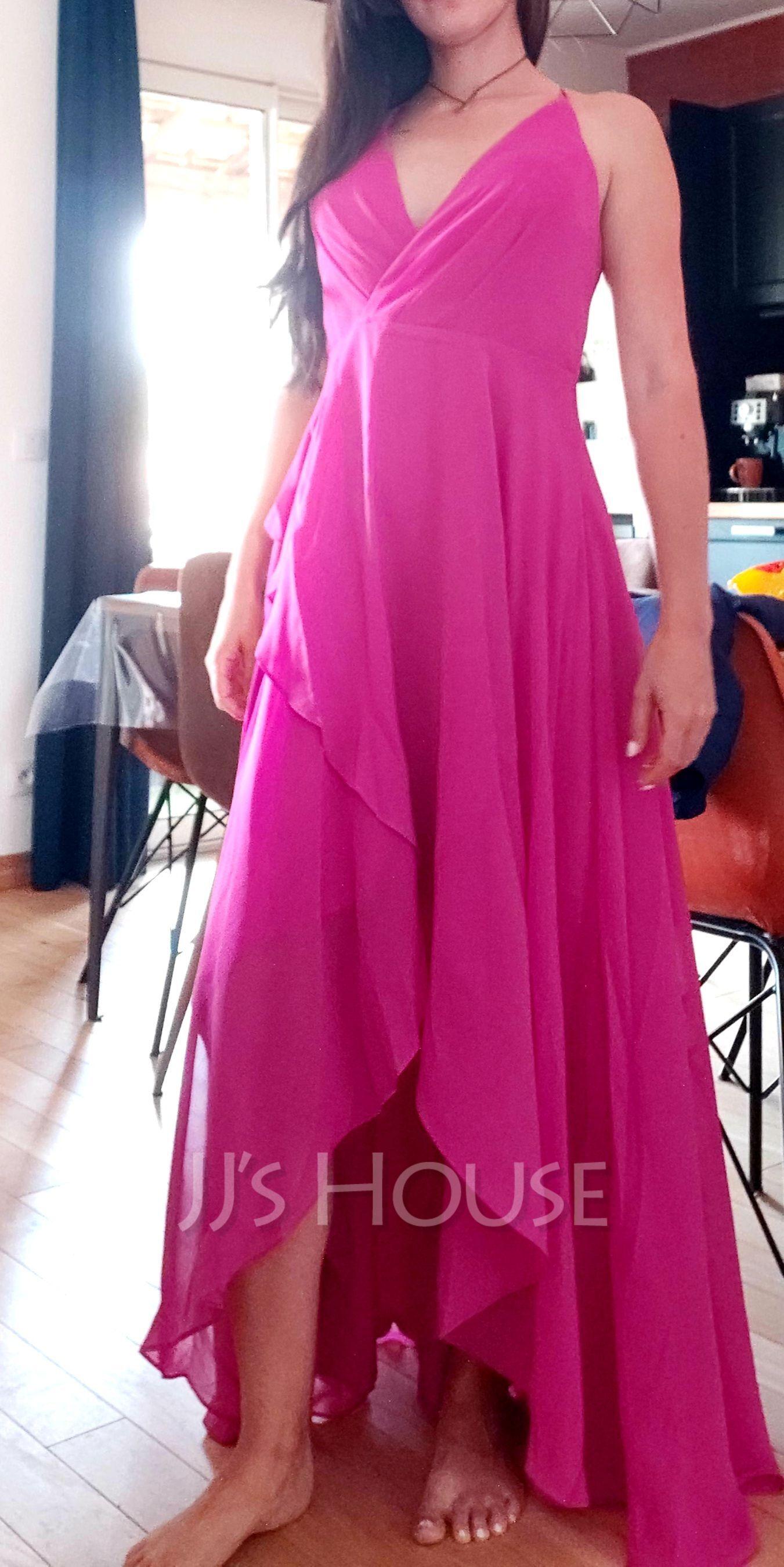 A-Line V-neck Asymmetrical Bridesmaid Dress (266257343)