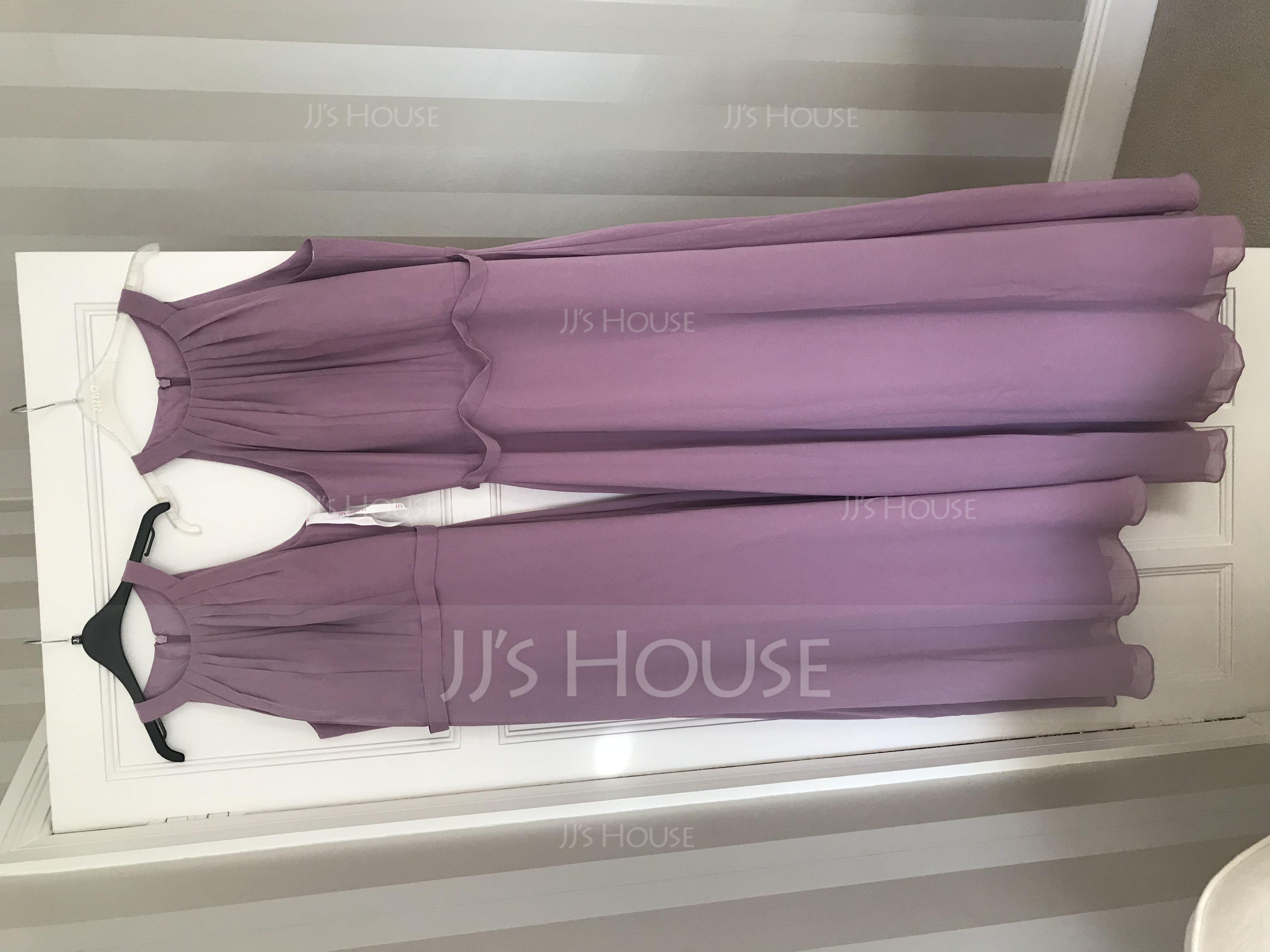 A-Line Scoop Neck Floor-Length Chiffon Bridesmaid Dress With Ruffle (007126519)