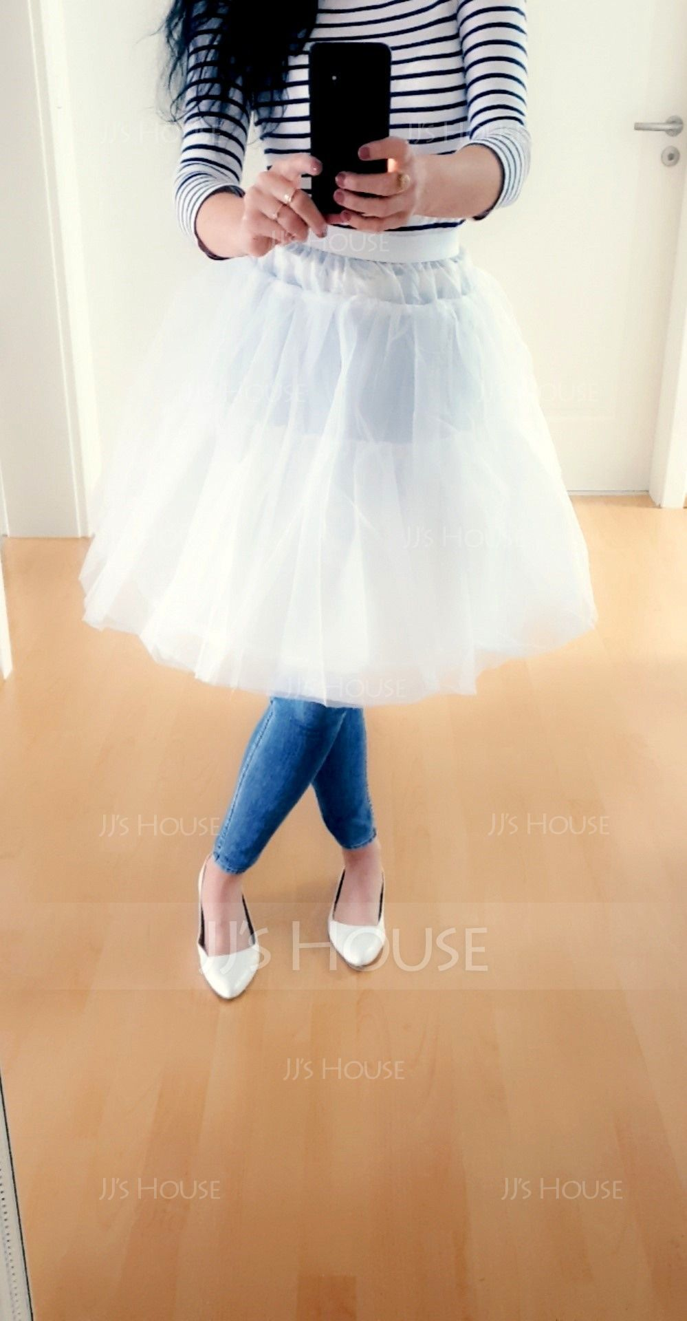 Girls Tulle Netting/Taffeta 3 Tiers Petticoats (037120310)
