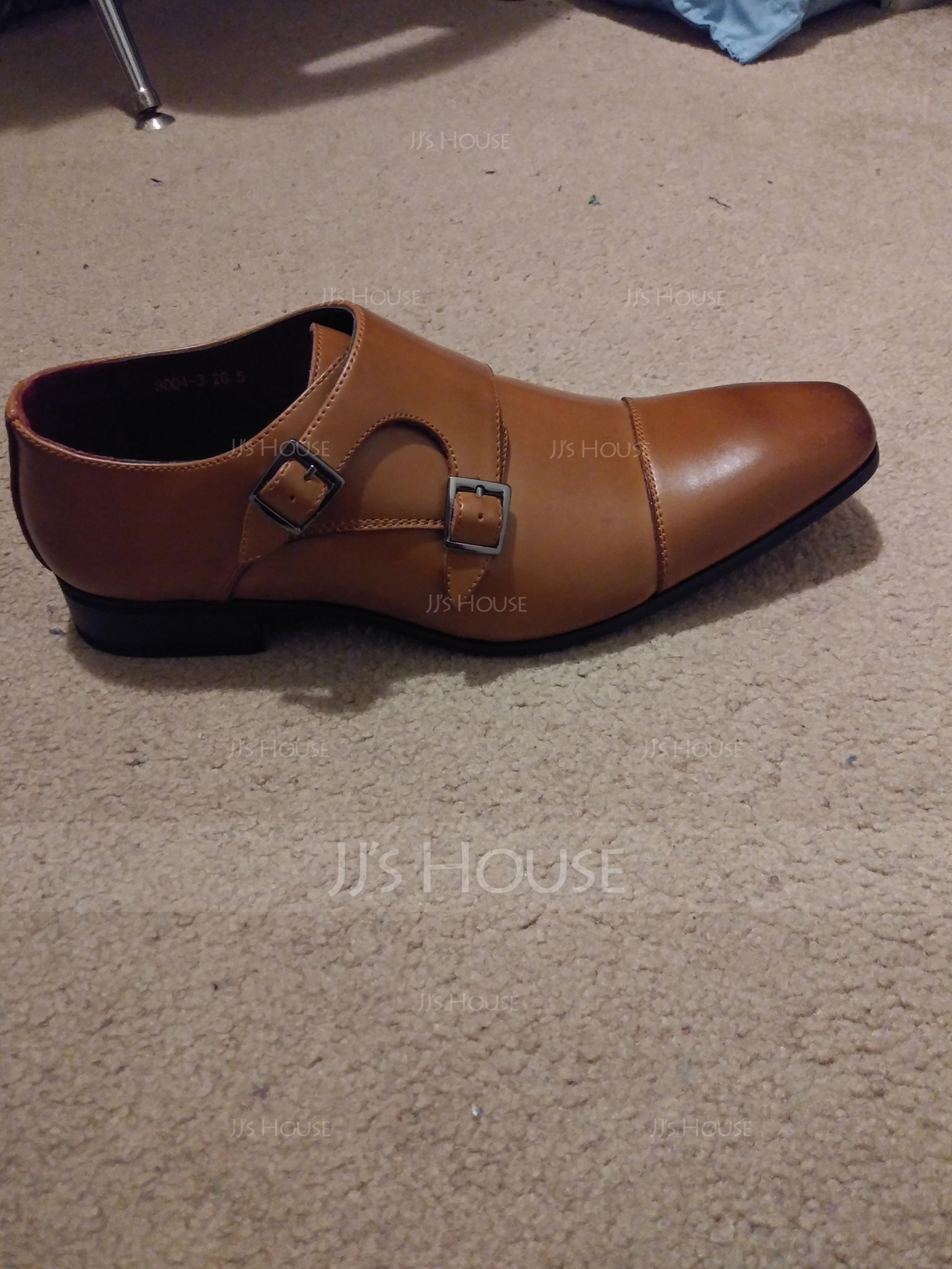 Men's Real Leather Monk-straps Dress Shoes Men's Oxfords (259171632)