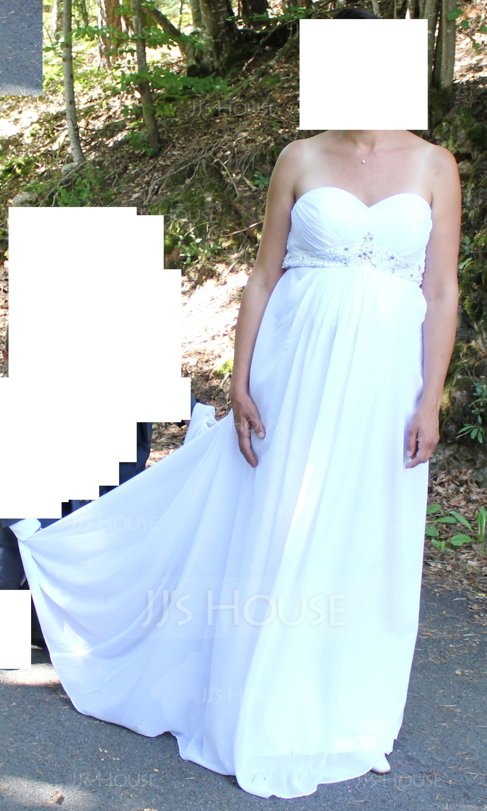 Empire Sweetheart Sweep Train Chiffon Wedding Dress With Ruffle Beading (002004156)