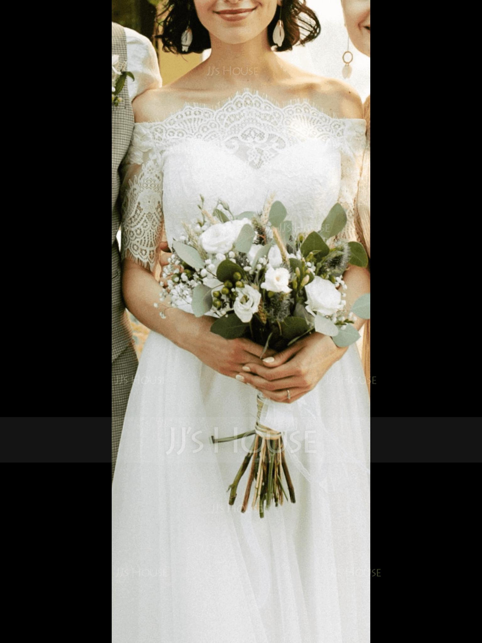 A-Line Off-the-Shoulder Floor-Length Tulle Wedding Dress (002186379)