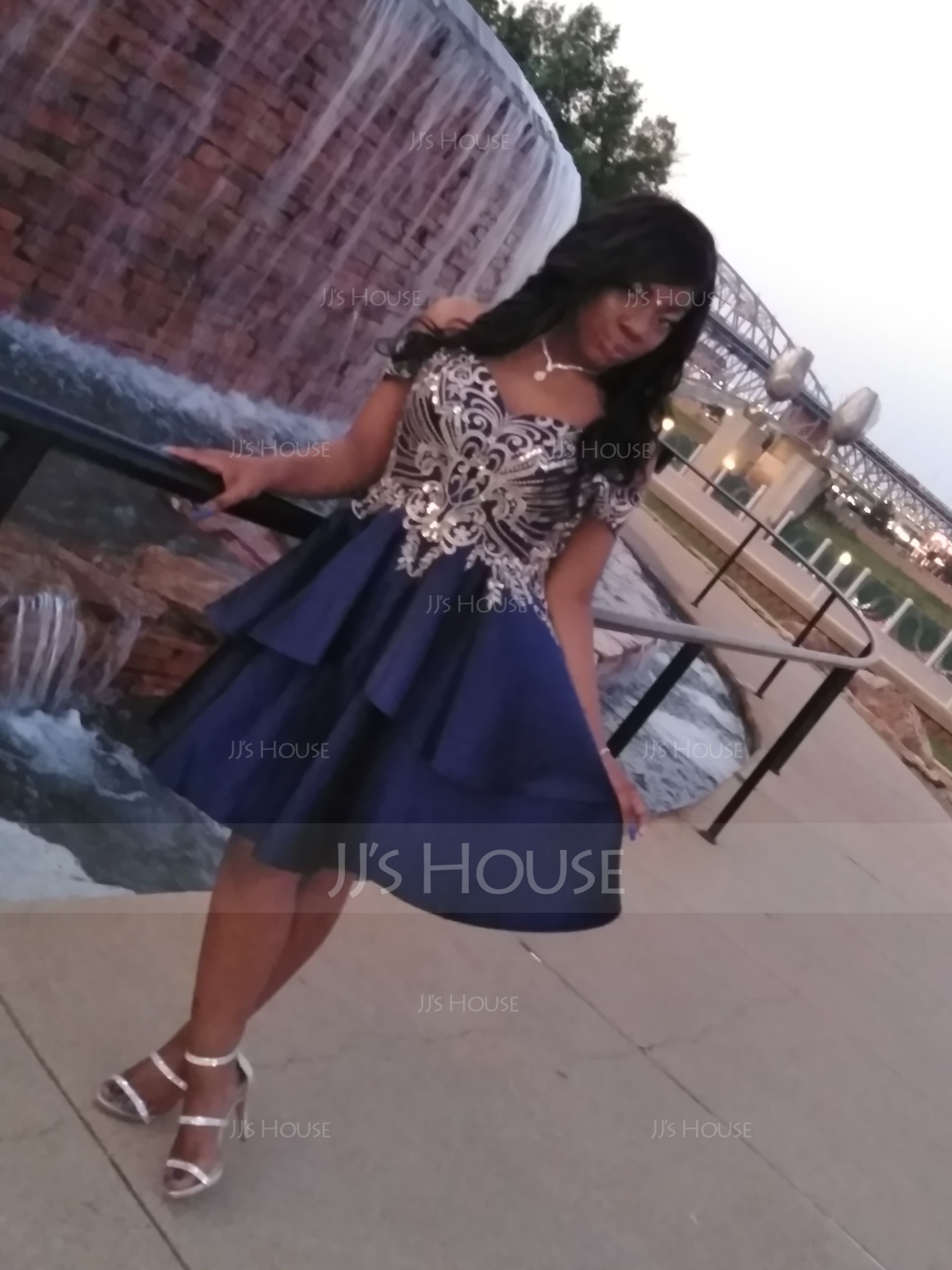 A-Line Off-the-Shoulder Short/Mini Satin Homecoming Dress With Lace (022203126)