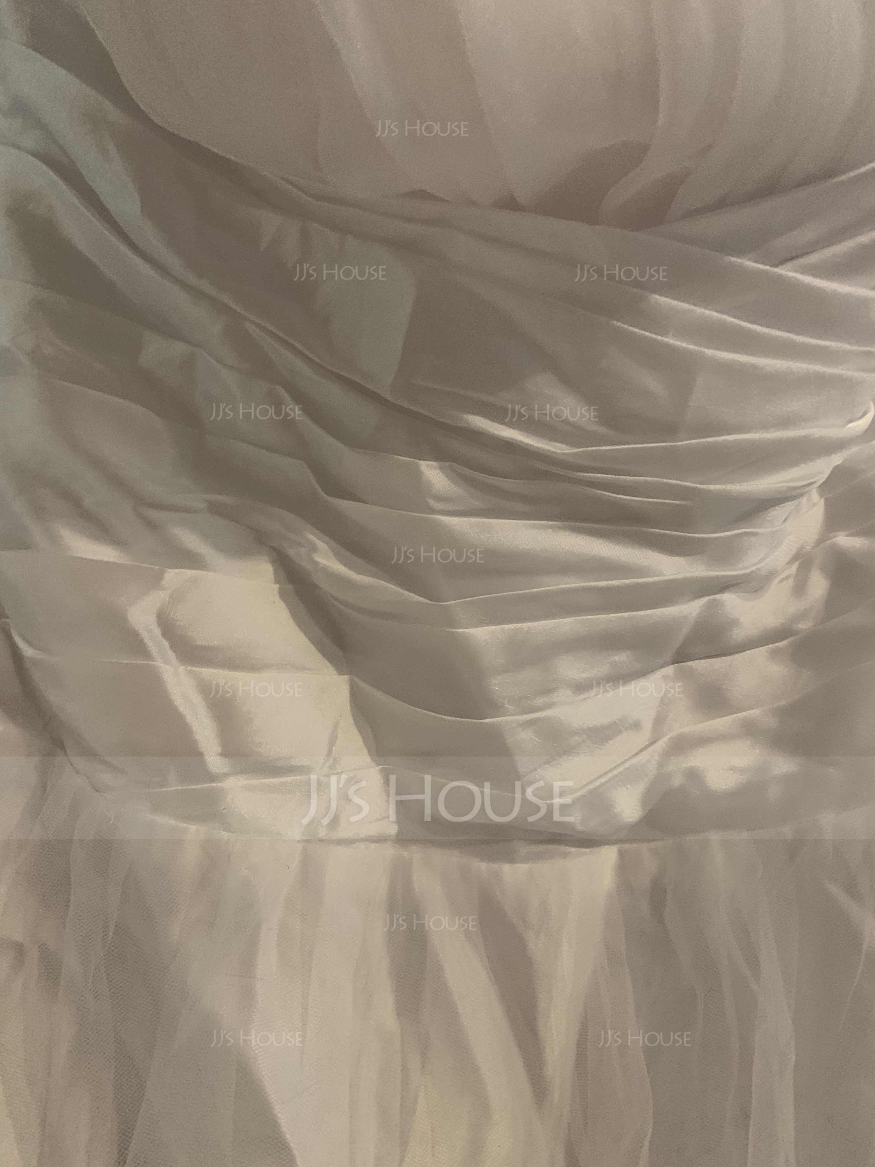 Платье для Балла Без лямок Длина до пола Тюль Пышное платье с Рябь Бисер (021002869)