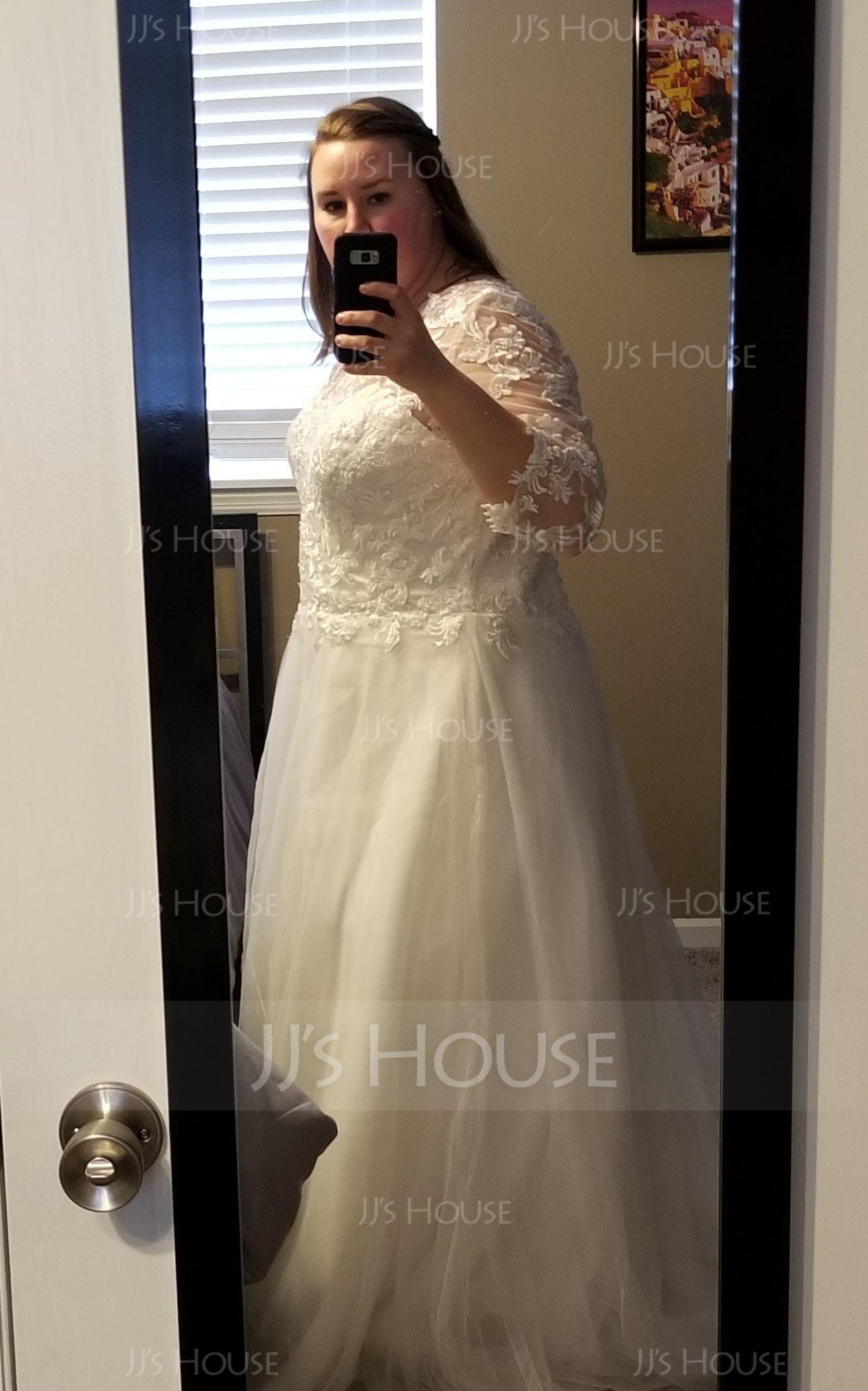 Robe Marquise/Princesse Col rond Balayage/Pinceau train Tulle Robe de mariée (002127265)
