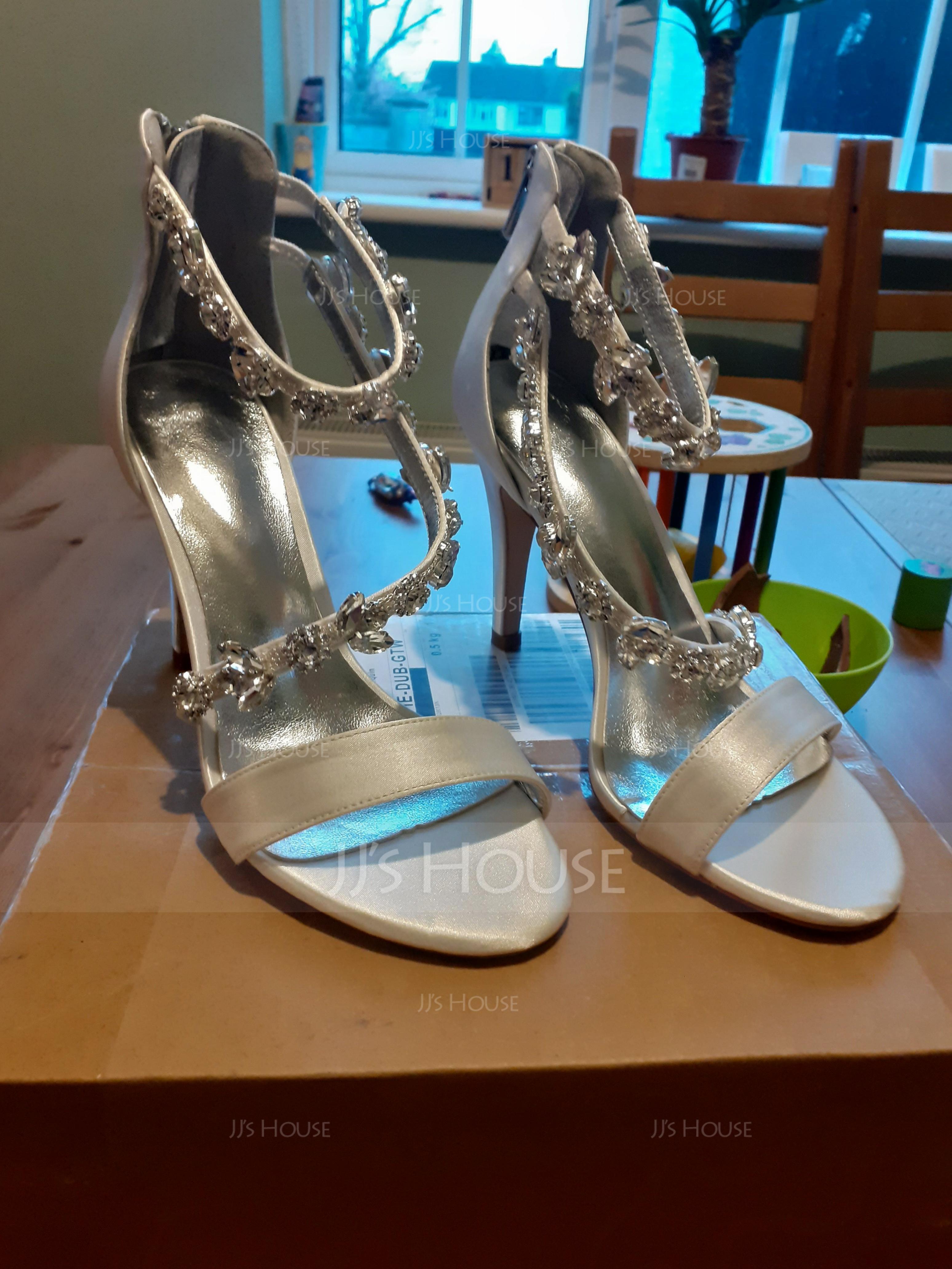 Women's Silk Like Satin Stiletto Heel Peep Toe Pumps Sandals (273214837)
