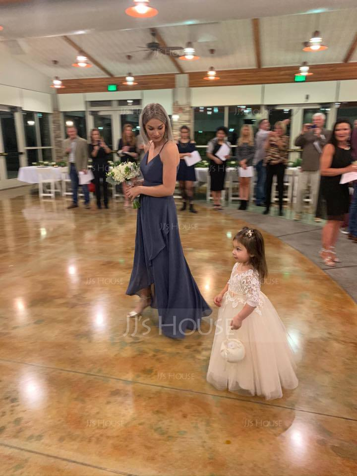 A-Line V-neck Asymmetrical Chiffon Lace Bridesmaid Dress (007165825)