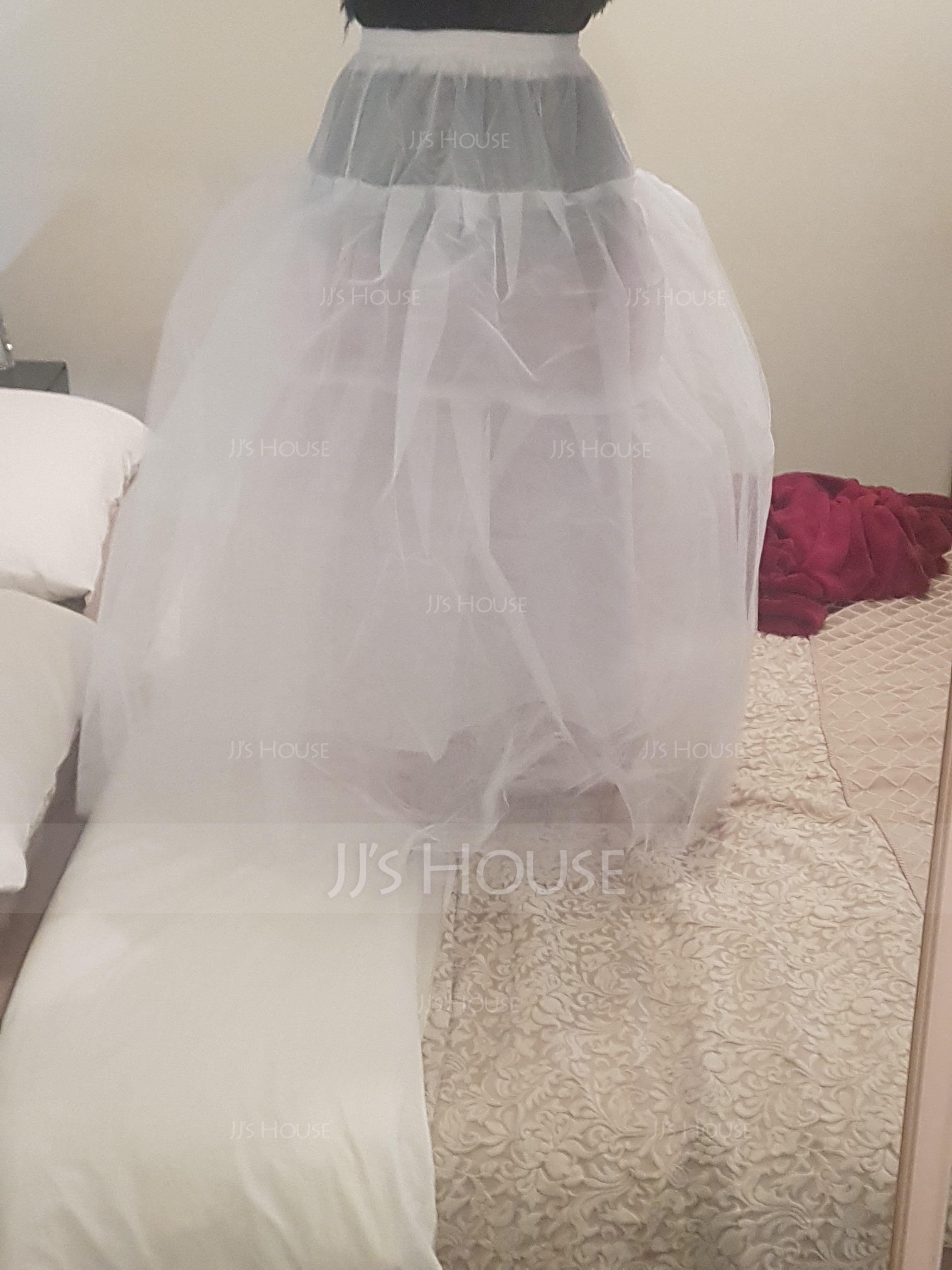 Women Tulle Netting/Satin Floor-length 4 Tiers Bustle