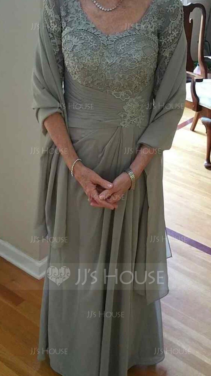 A-Linie V-Ausschnitt Bodenlang Chiffon Spitze Kleid für die Brautmutter mit Rüschen (008102681)