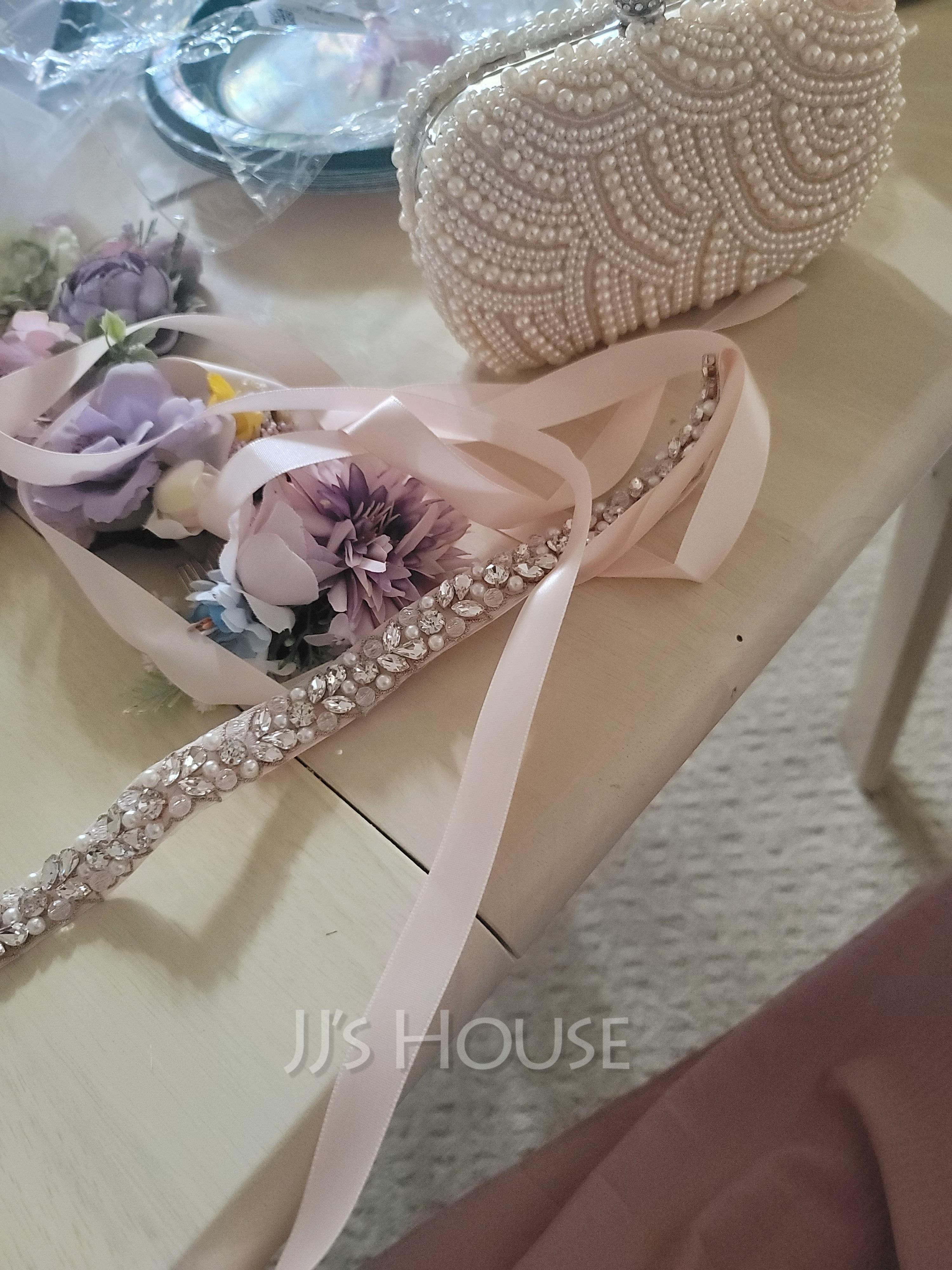 Beautiful Satin Sash With Rhinestones/Imitation Pearls