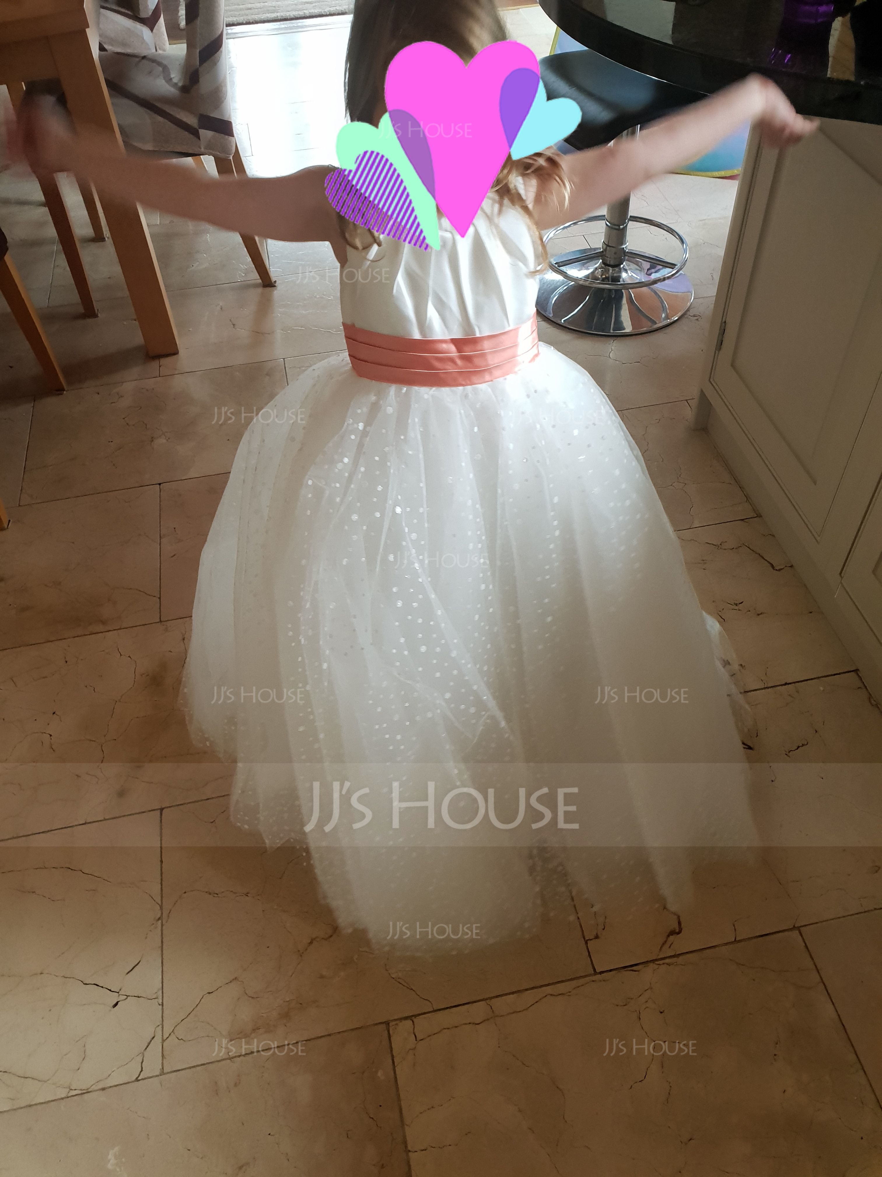 Ball Gown Floor-length Flower Girl Dress - Satin/Tulle Sleeveless Scoop Neck With Sequins/Pleated (010115804)
