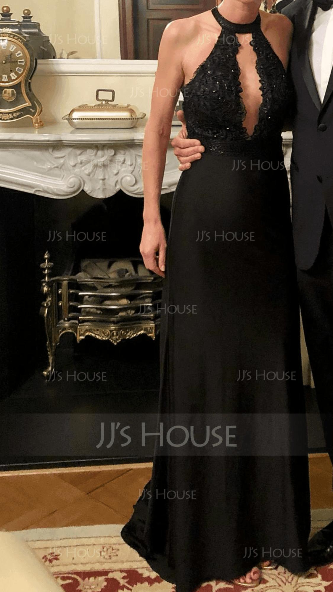 Trompete/Meerjungfrau-Linie U-Ausschnitt Sweep/Pinsel zug Jersey Abendkleid mit Perlstickerei Pailletten (017153616)