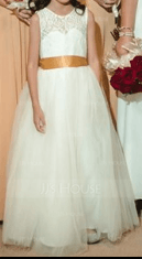 Robe Marquise/Princesse Col rond Longueur ras du sol Tulle Robe de demoiselle d'honneur - junior avec Ceintures (009126265)