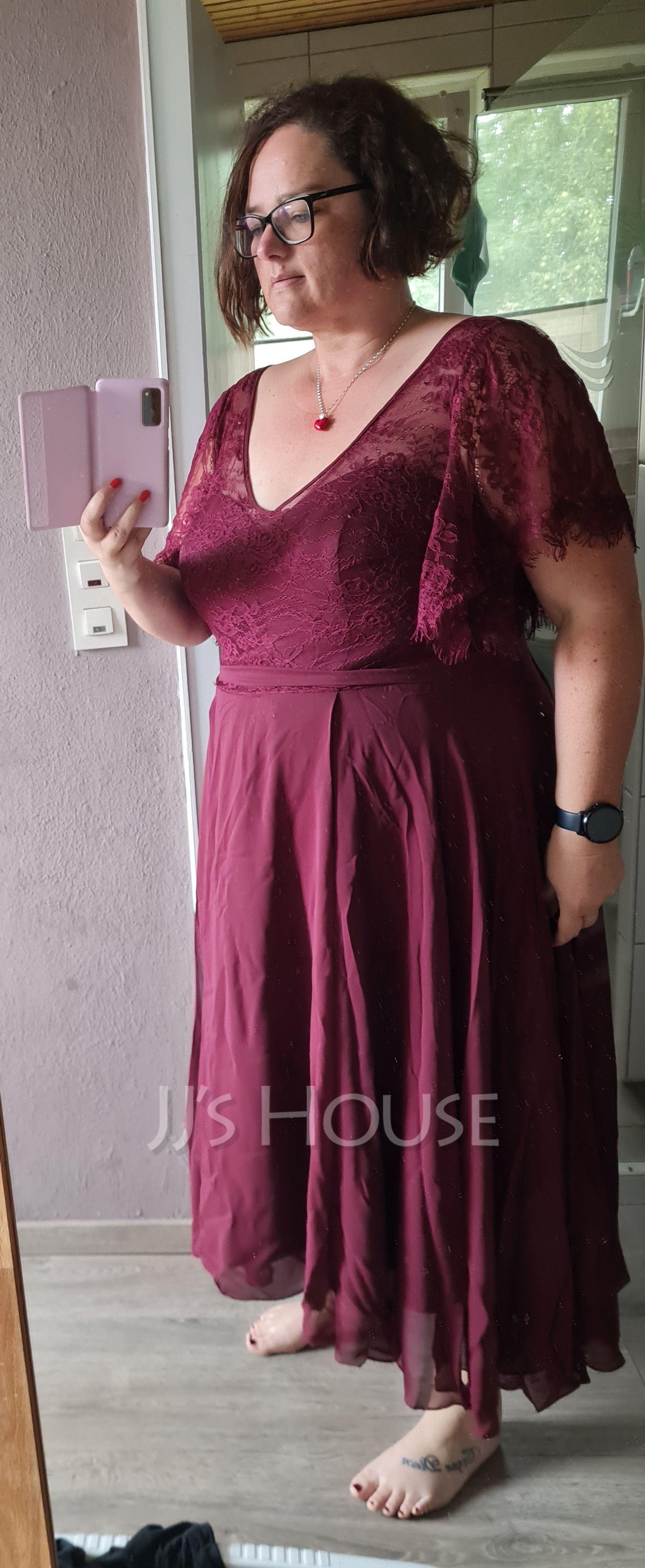 A-Line V-neck Ankle-Length Chiffon Lace Evening Dress