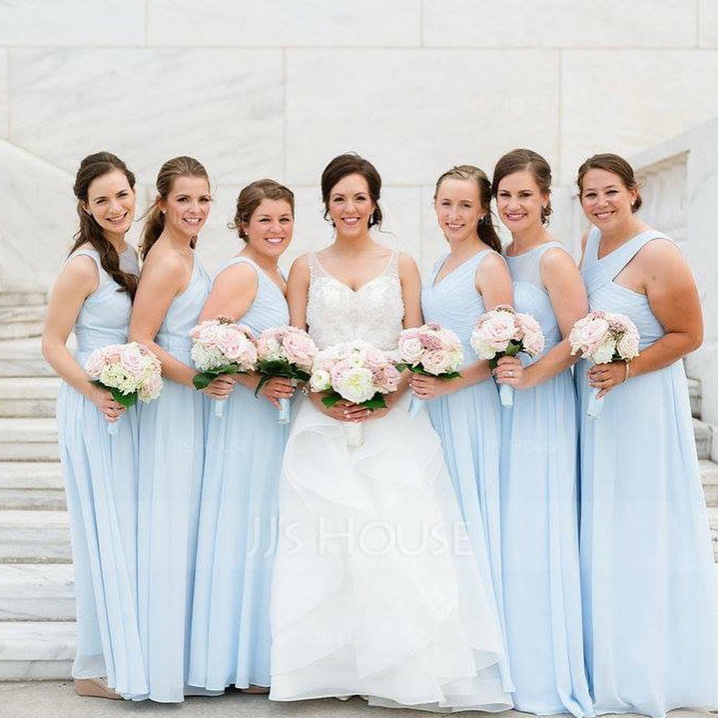 A-Lijn/Prinses V-nek Vloer lengte De Chiffon Bruidsmeisjes Jurk met Roes (007051433)