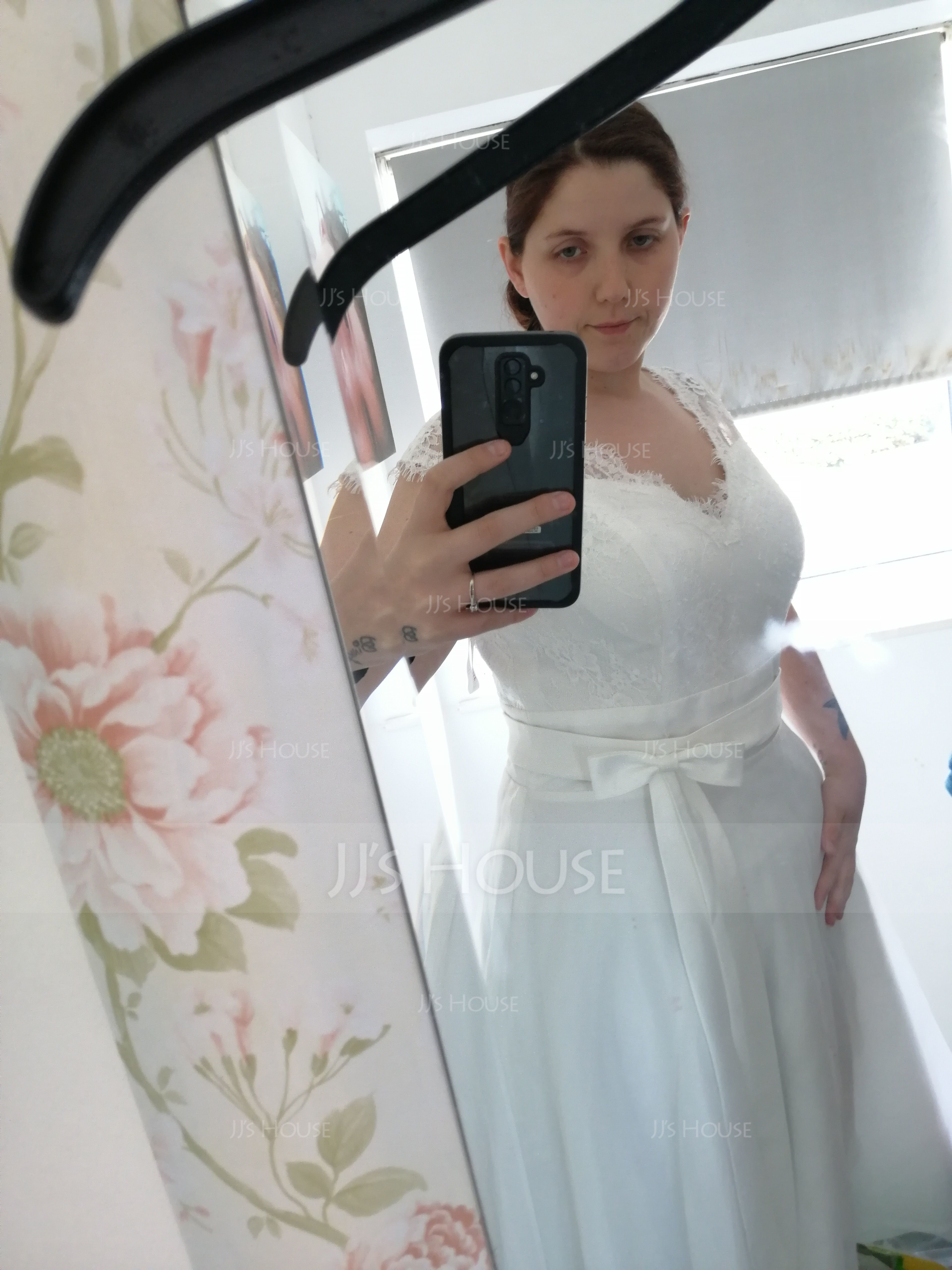 A-Line V-neck Tea-Length Satin Wedding Dress With Bow(s) (002145320)