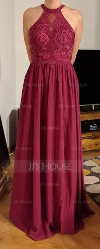 A-Line Scoop Neck Floor-Length Chiffon Lace Bridesmaid Dress With Split Front (007206484)