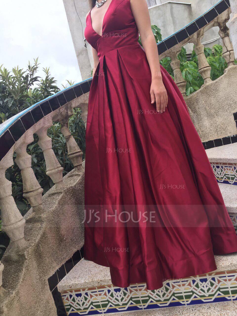 Ball-Gown/Princess V-neck Floor-Length Satin Prom Dresses (018147708)