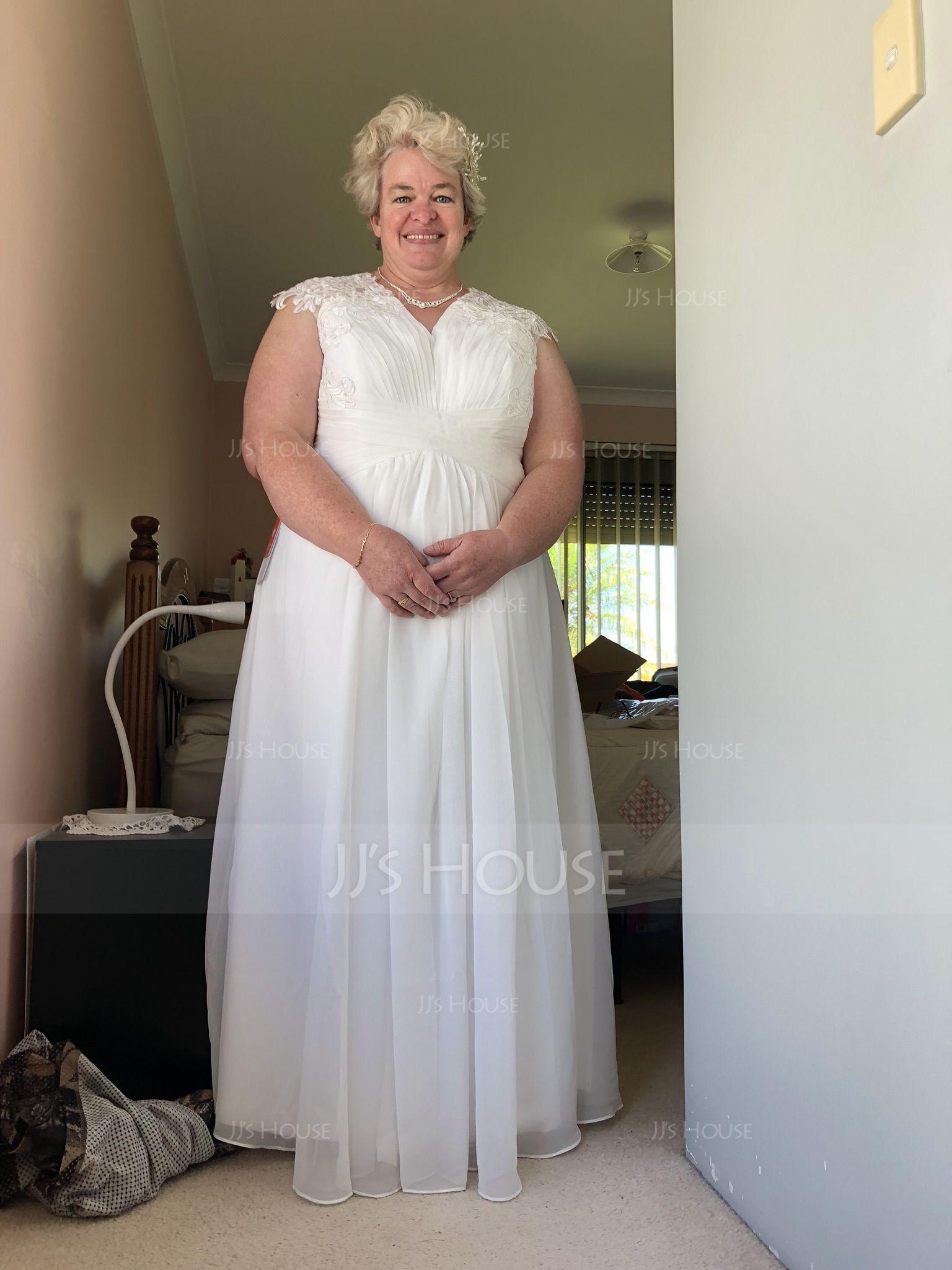 A-Line/Princess Sweetheart Floor-Length Chiffon Wedding Dress With Ruffle (002119798)