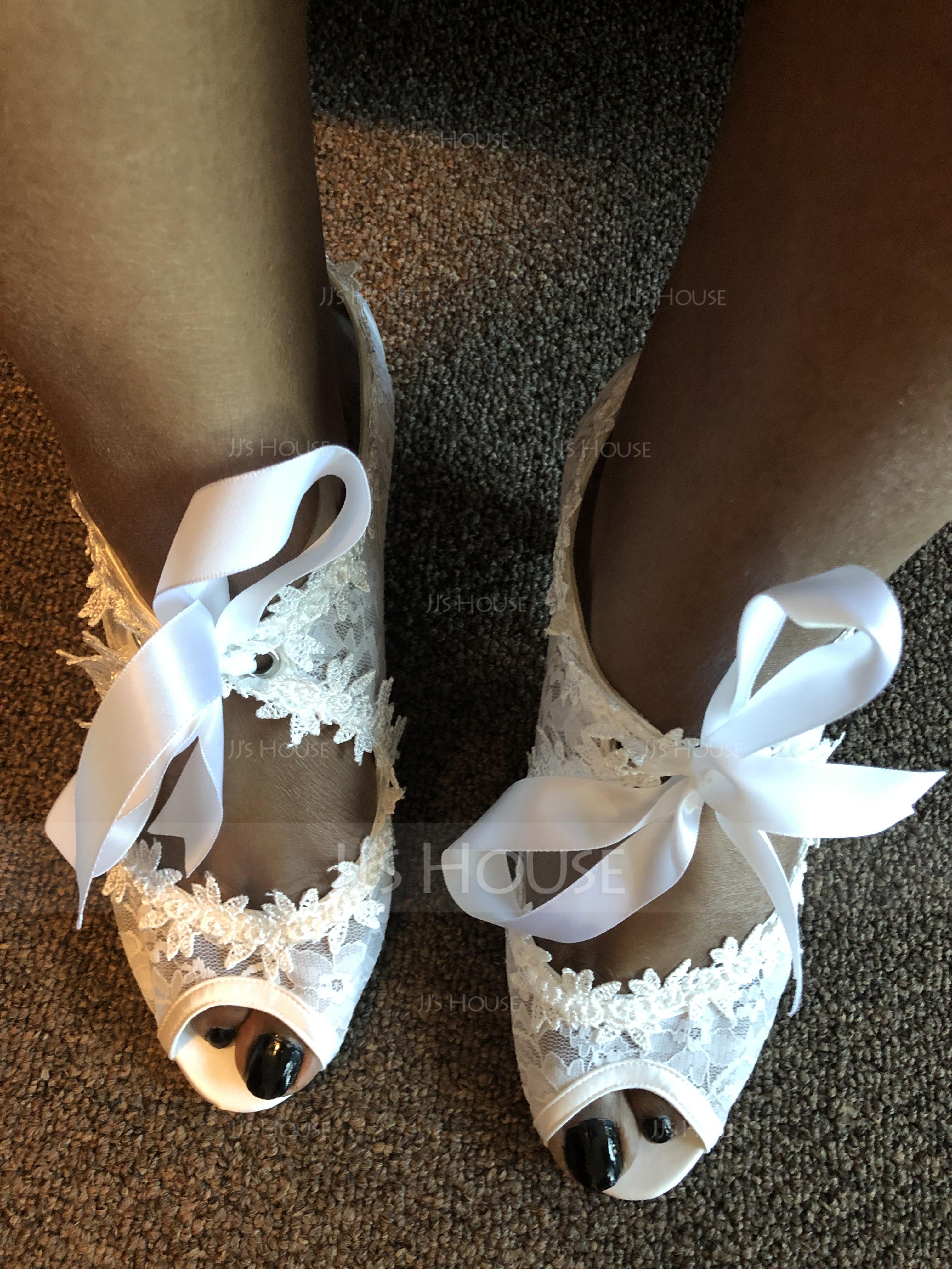 Dla kobiet Lace Obcas Stożkowy Peep Toe Sandały (047077211)