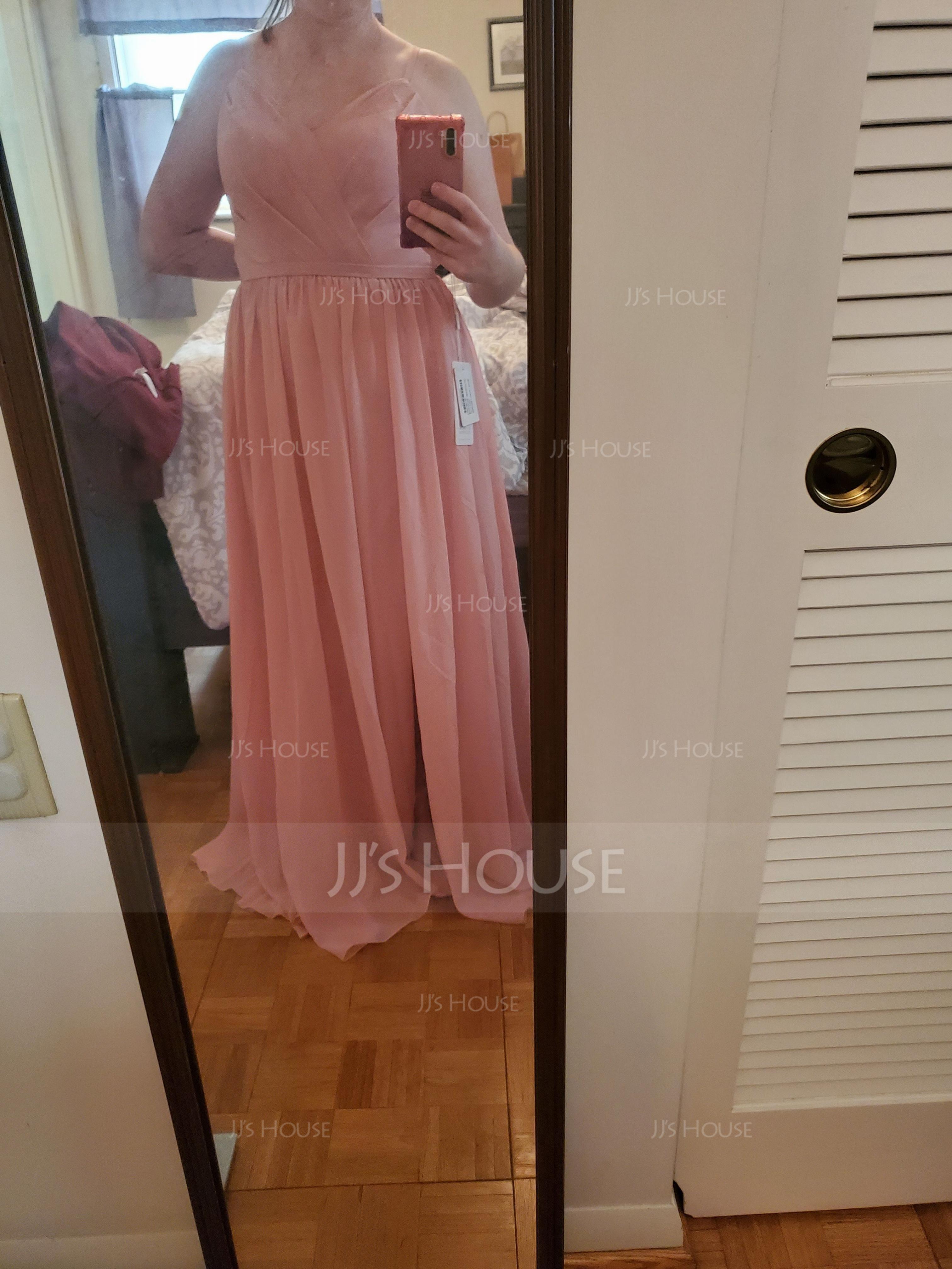 A-Line Sweetheart Floor-Length Chiffon Bridesmaid Dress With Ruffle Split Front (007117361)