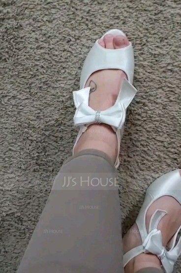 Women's Satin Silk Like Satin Chunky Heel Peep Toe With Satin Flower Zipper (047132854)