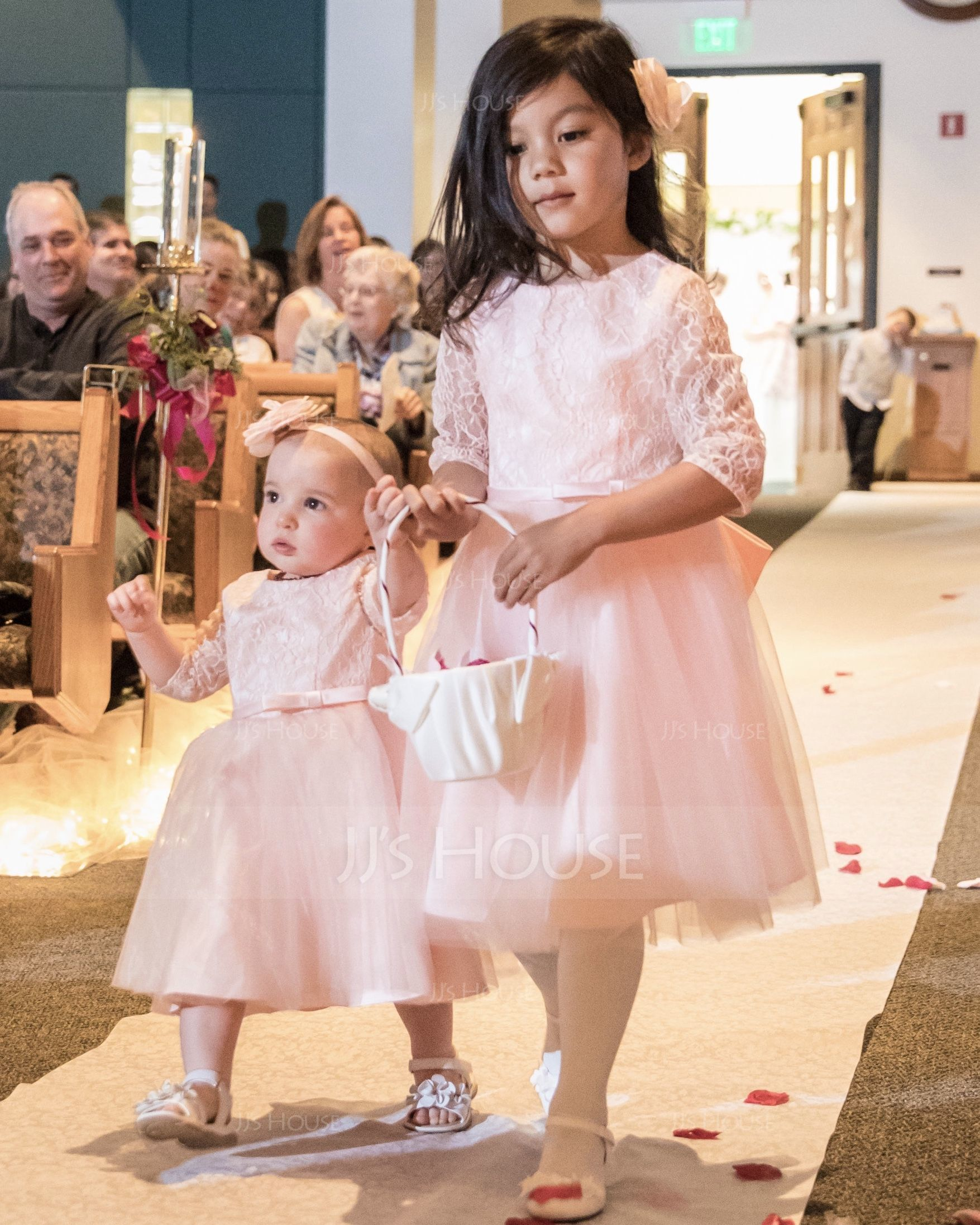 A-Line/Princess Knee-length Flower Girl Dress - Satin Tulle Lace 3/4 Sleeves Scoop Neck With Bow(s) (269183993)