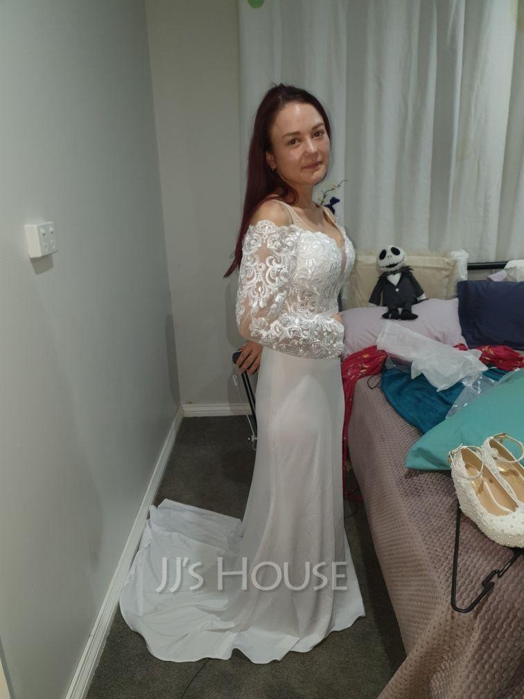 Corte trompeta/sirena Fuera del hombro Cola corte Jersey Vestido de novia