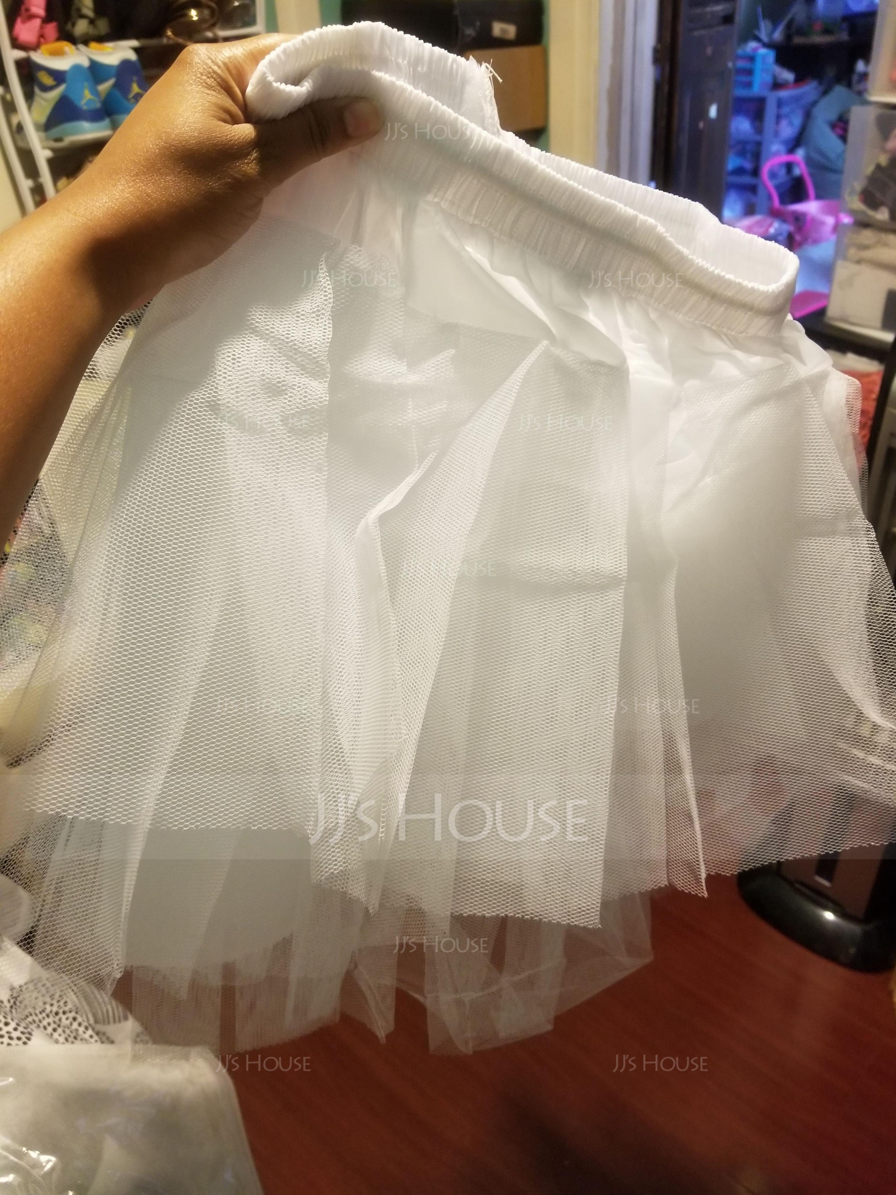 Girls Tulle Netting/Taffeta Short-length 3 Tiers Petticoats (037005549)