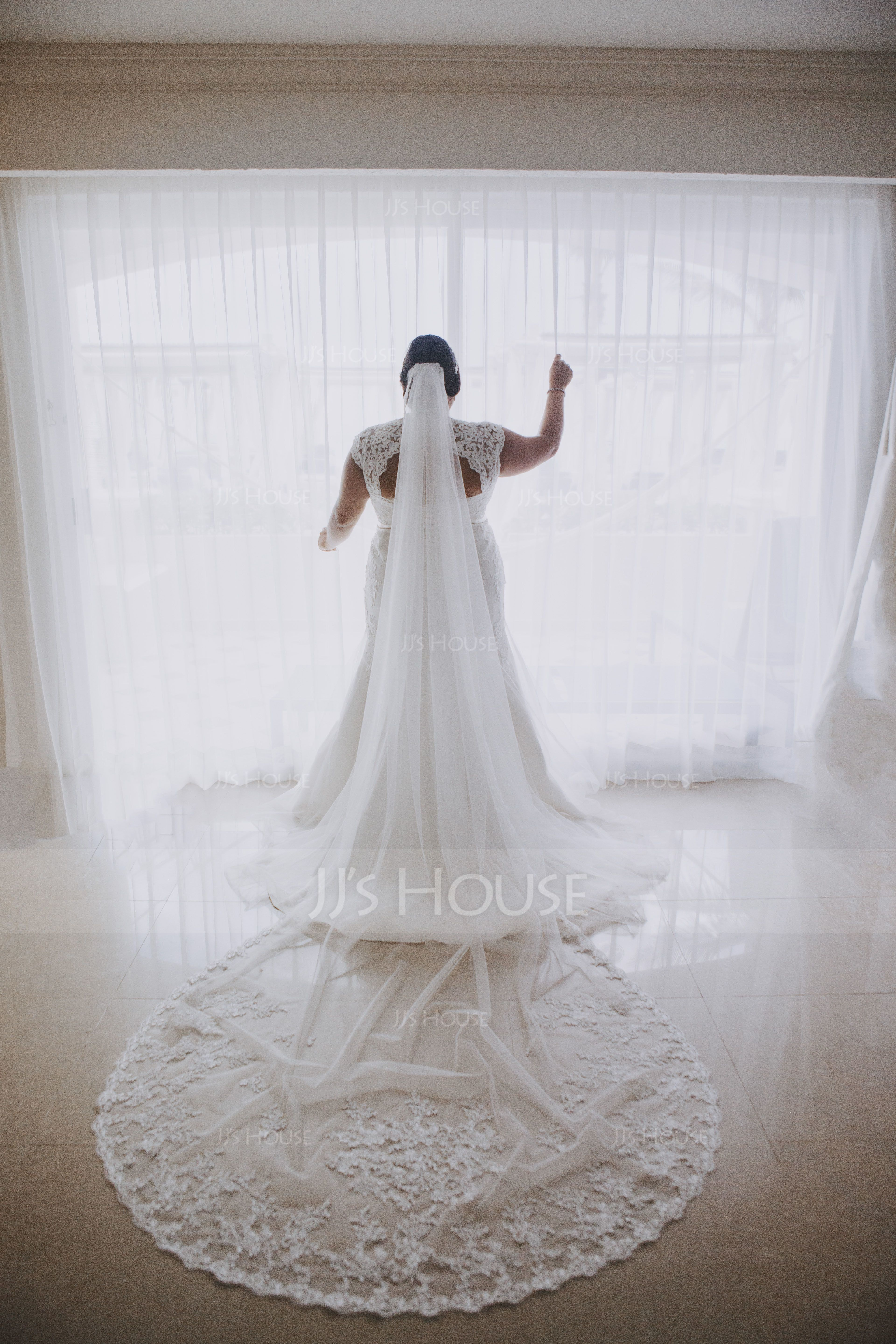 One-tier Lace Applique Edge Cathedral Bridal Veils With Applique/Lace (006089549)