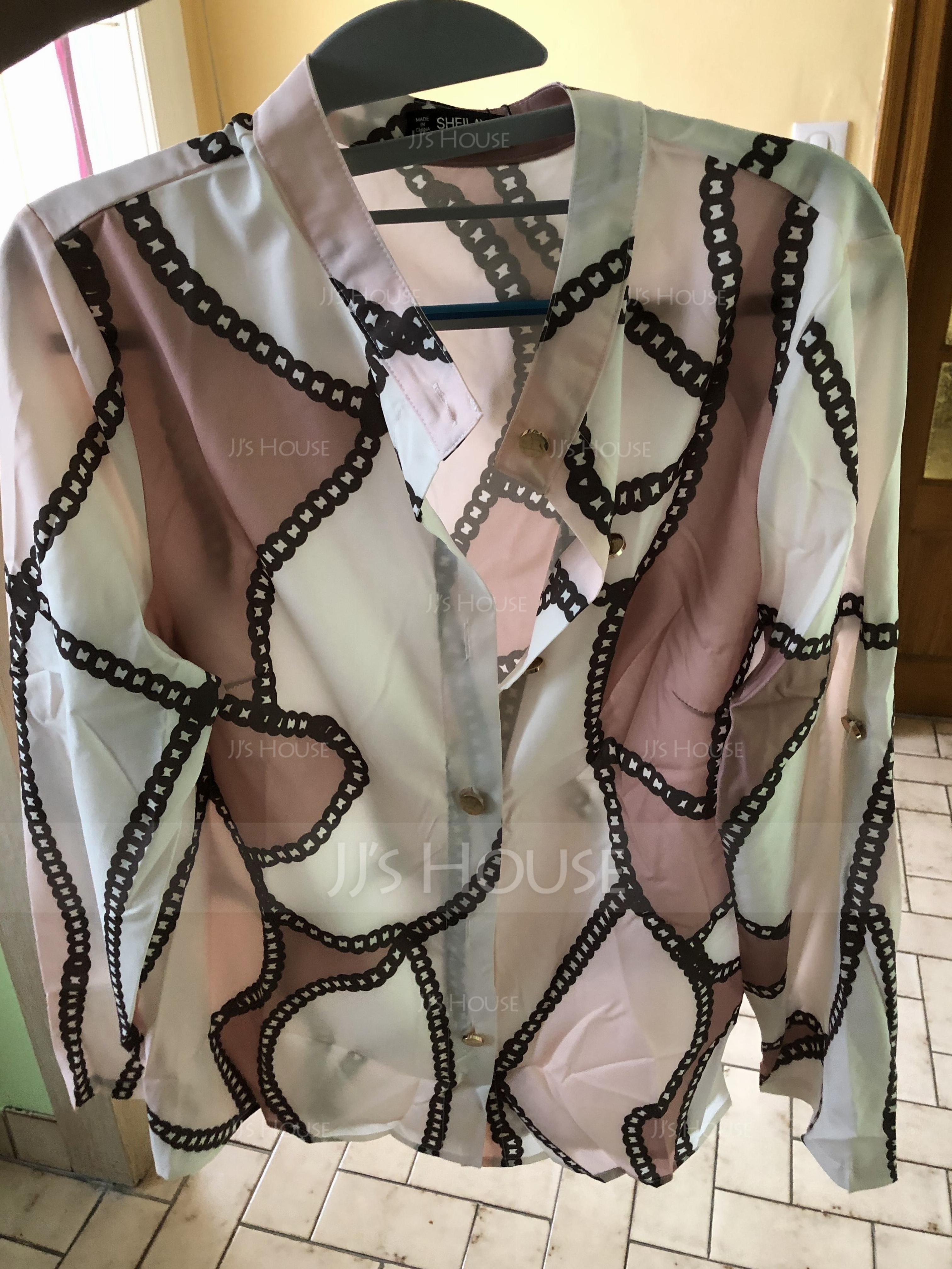 Langermer Polyester V-hals Skjorte Bluser Bluser (1003223820)