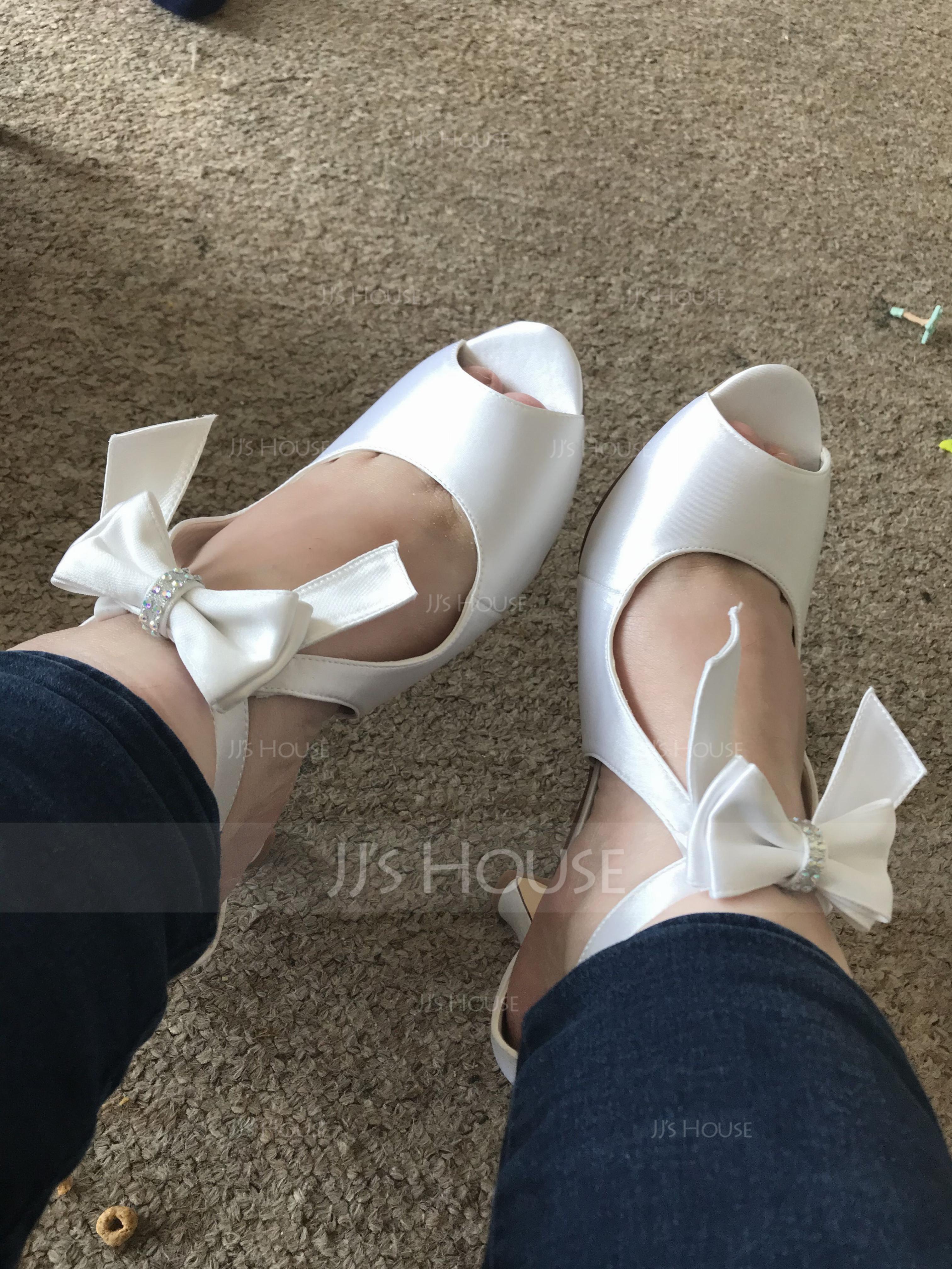 Women's Satin Silk Like Satin Chunky Heel Peep Toe With Satin Flower Zipper (273177551)