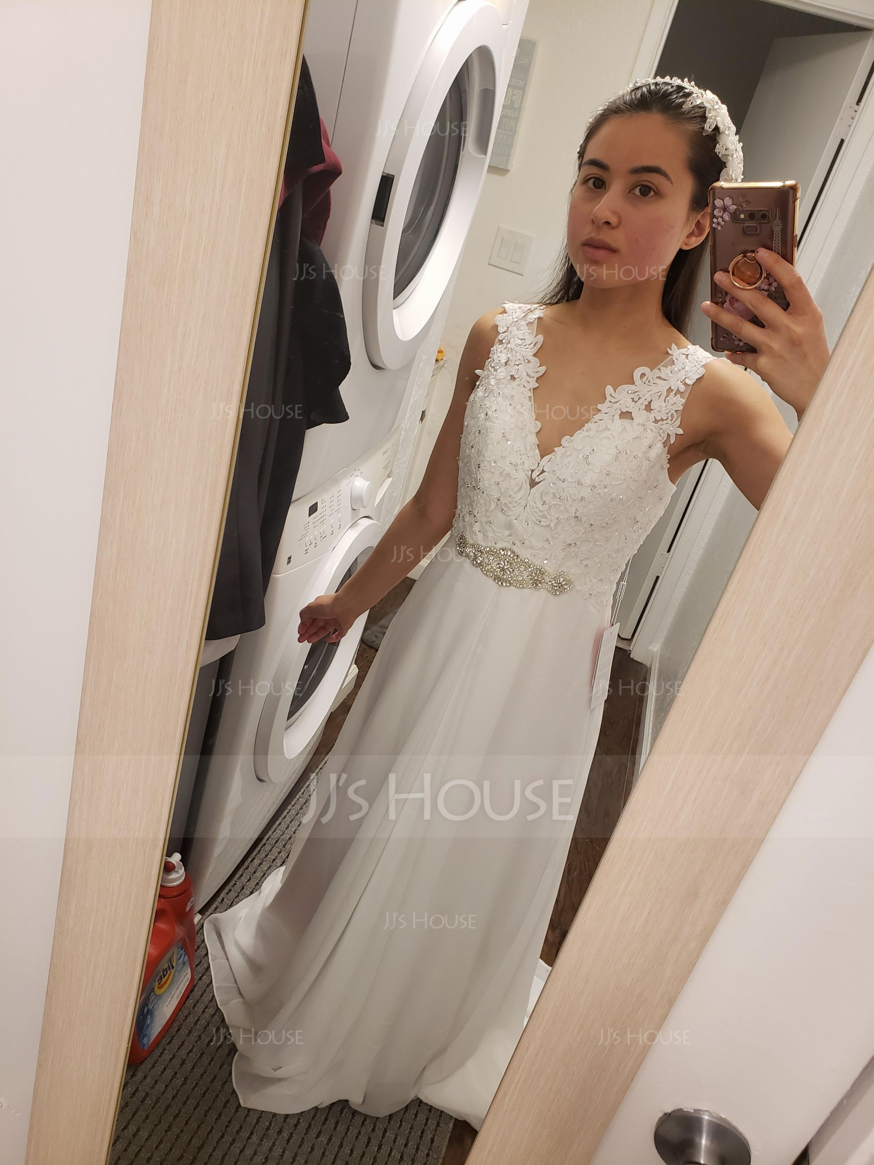 A-Line V-neck Court Train Chiffon Wedding Dress With Beading Sequins (002118435)