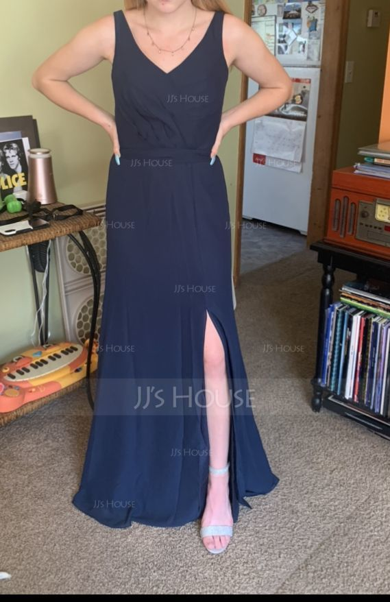 A-Line V-neck Floor-Length Chiffon Bridesmaid Dress With Ruffle Bow(s) Split Front (007153332)
